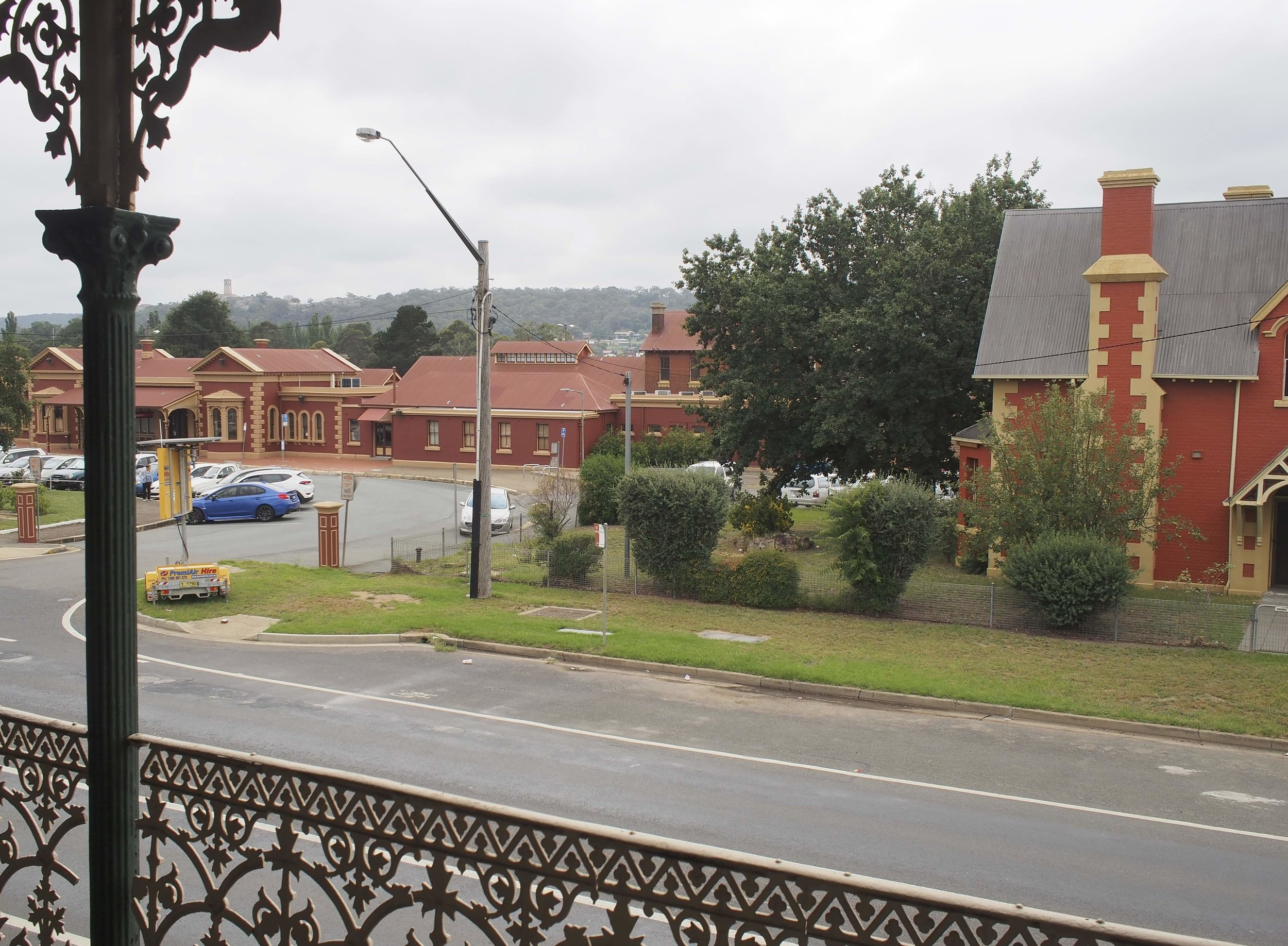 from the verandah of Ernies, a gorgeous old heritage pub overlooking Goulburn Railway station.