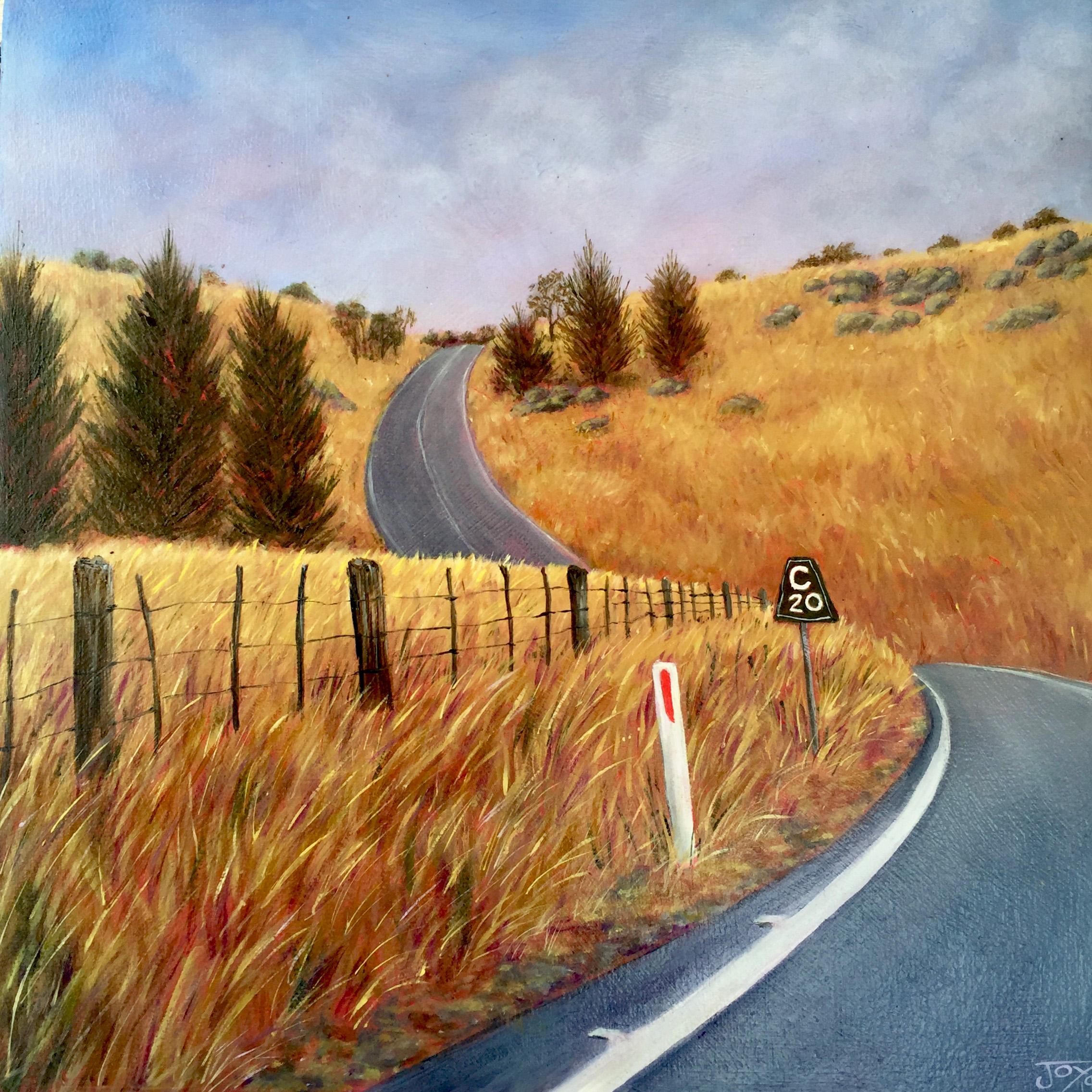 20 Clicks to Canberra, oil on canvas 30X30cm