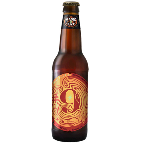 Magic Hat #9  This bottle of nectar reveals ripe apricots and gentle hops, finishing off crisp to prepare you for another taste, of seduction. A good refreshing alternative to citrusy bitter IPAs.
