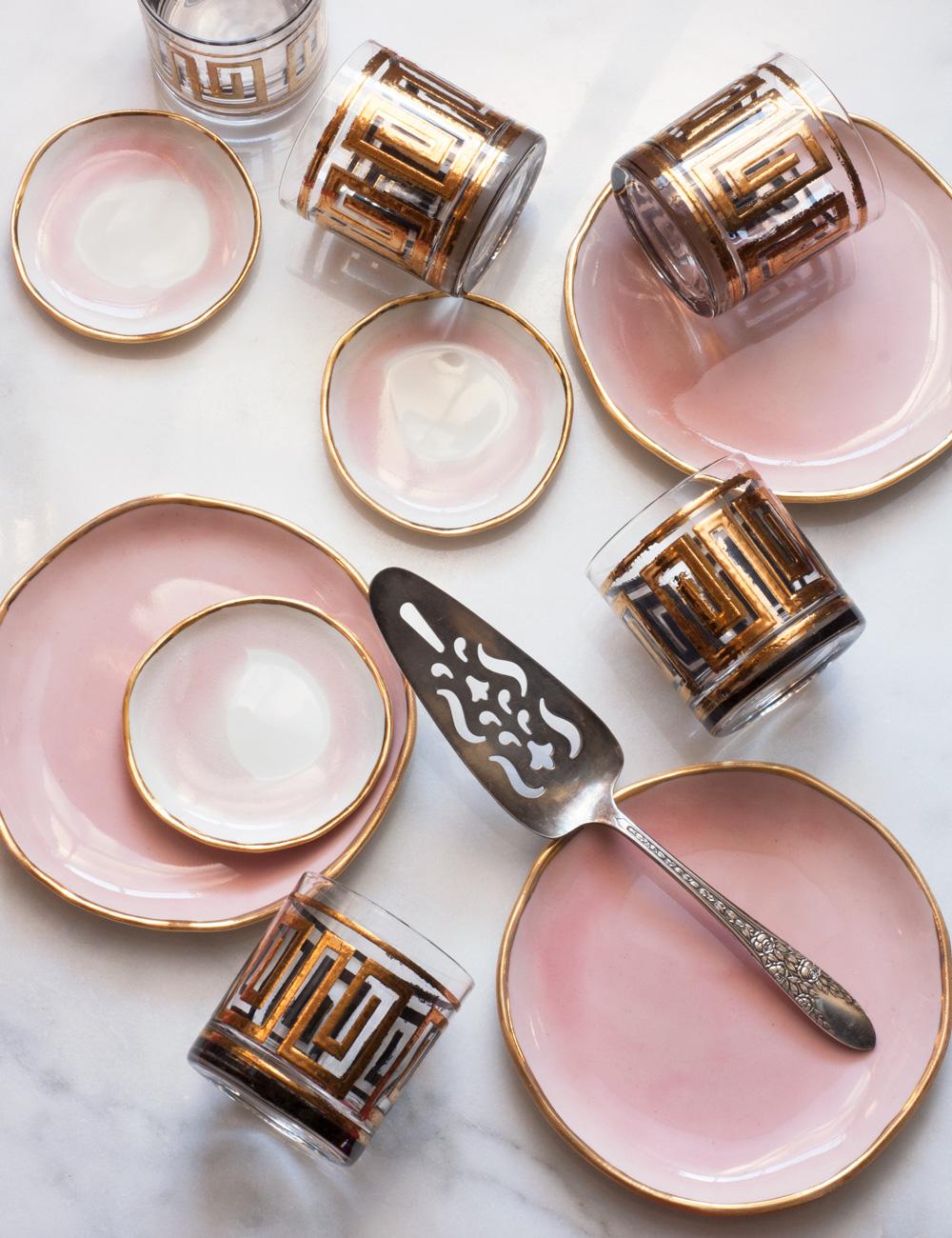 suite-one-studio-rose-dessert-plates-with-gold-rim-vintage-glasses-greek-key-and-silver-server.jpg