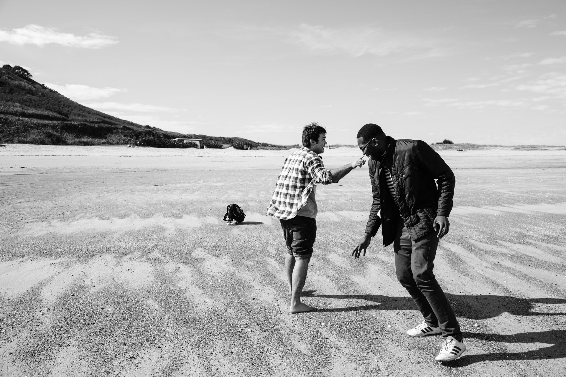 In March myself and a couple of my school friends met up in Guernsey for a mini-stag. This was taken on Herme Island. In this photo Akosa is pushing James (bare-foot) around on the shells.