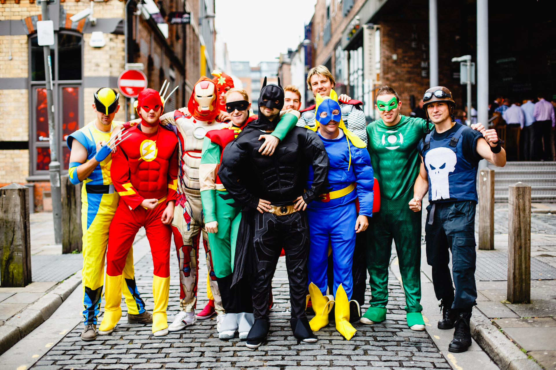 Thor (my schoolmate Andrew Leater) who is hiding in the back of this photo, had another stag do with a mixture of friends late in June. The theme was superheroes!