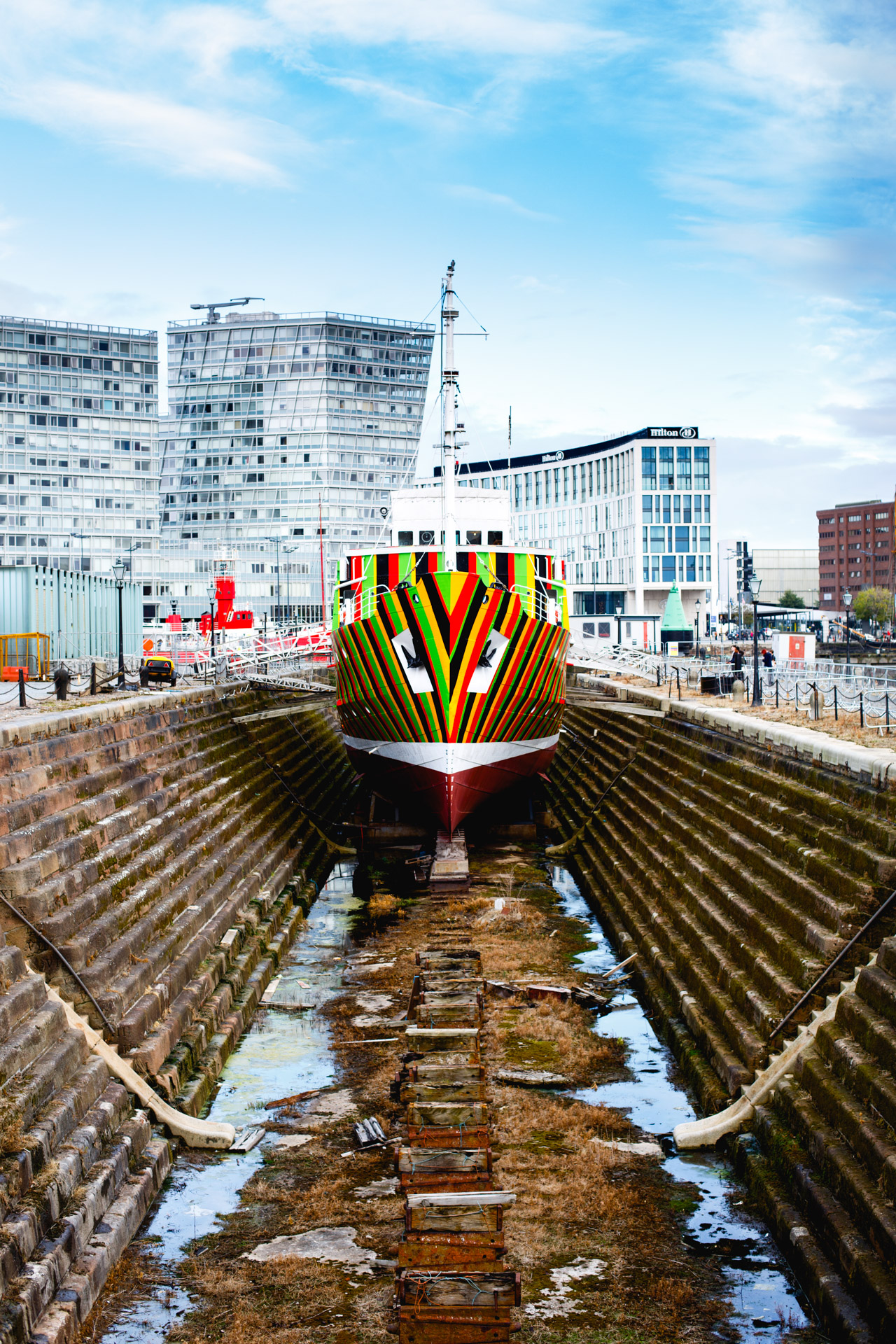 In October I finally got round to checking out some of the Liverpool Biennial artwork. This was taken in the Albert Docks and was called the Dazzle Ship.