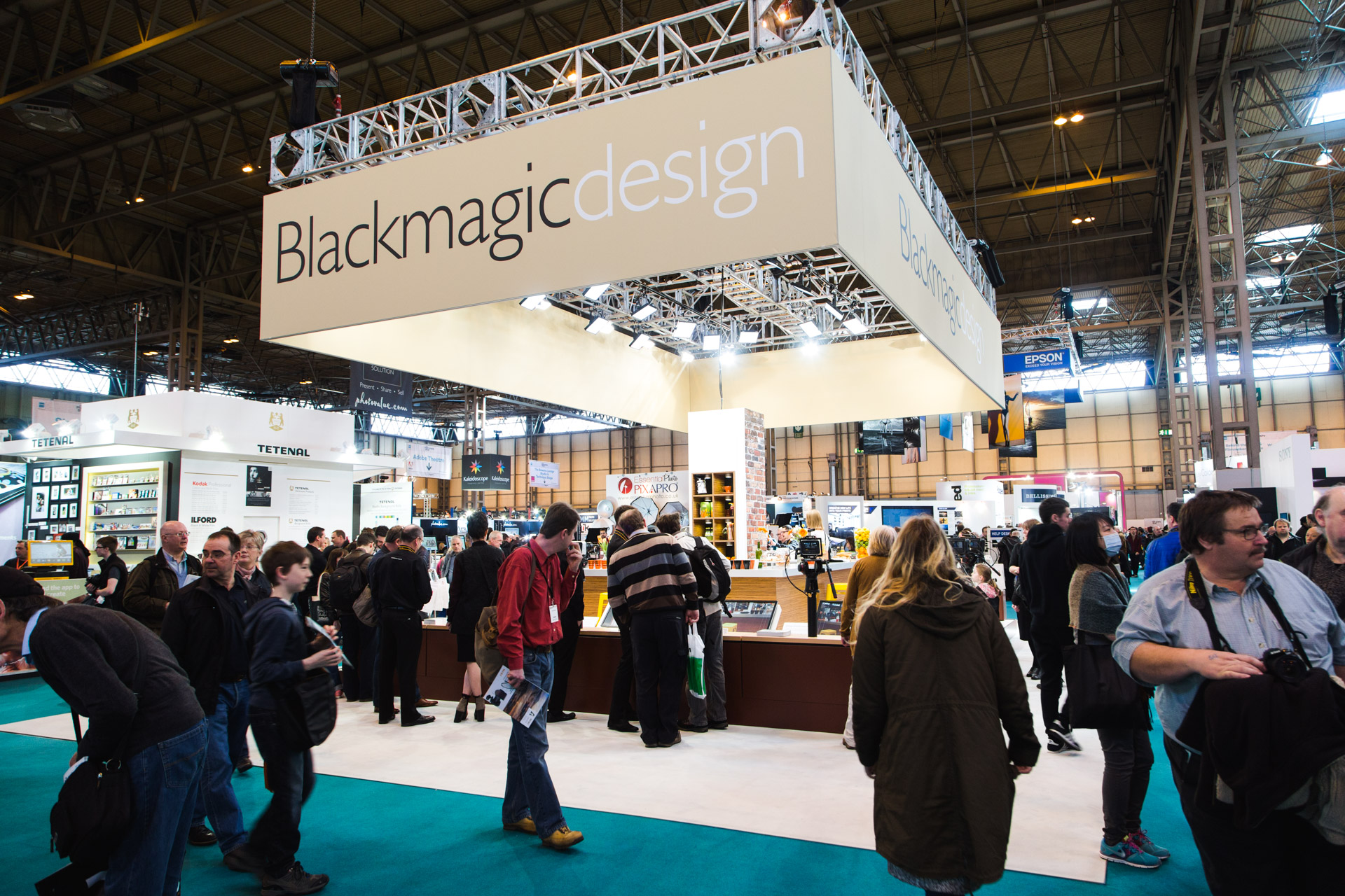 The stand for video camera manufacturerBlackmagic Design.