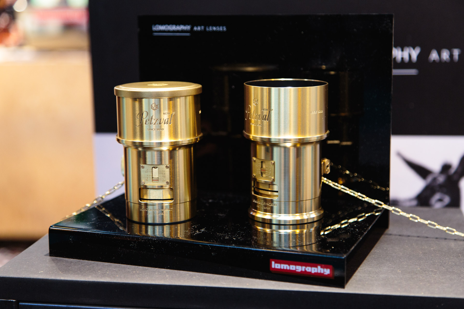 Lomography's Petzval lens. This lens has a focal length of 85mm (ideal for portraits) and is based on old technology by Joseph Petzval from 1840. These mount Nikon (left) and Canon (right) DSLRs.