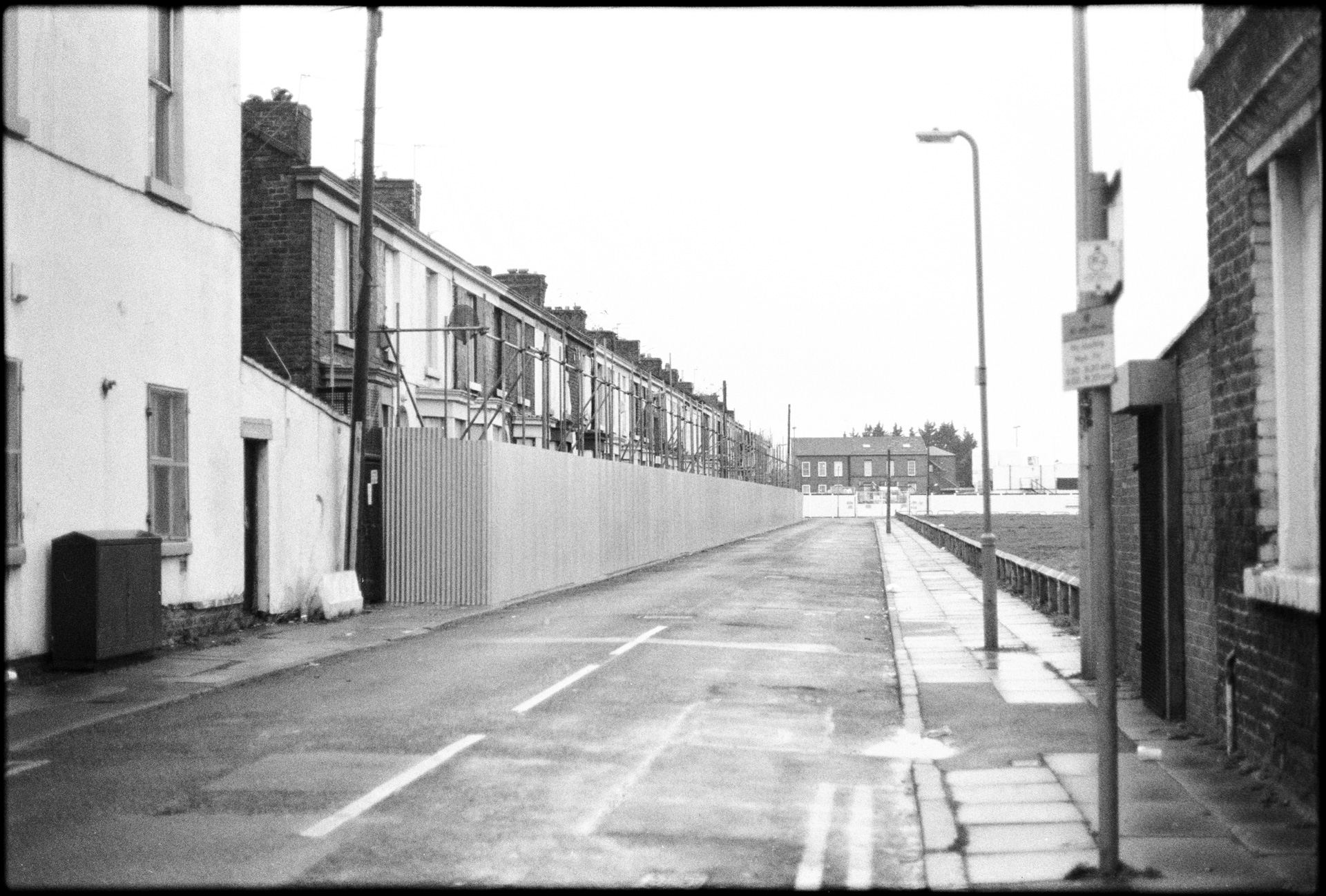 March 2013 (shot on black and white film) - a row of houses on Janet Street before demolishment.