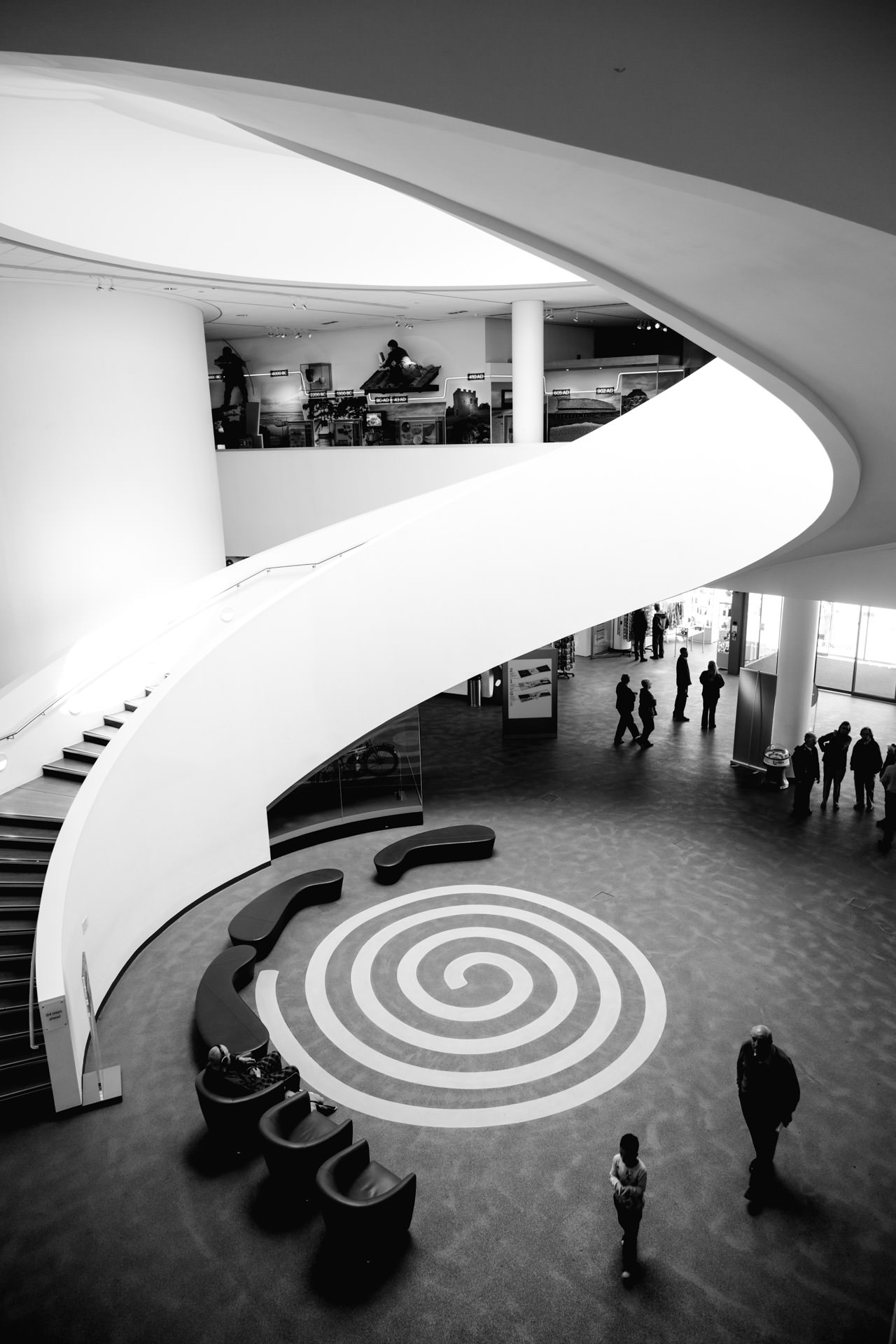 June - After checking out an exhibition at the  Museum of Liverpool  I took this photo of the building's spiral staircase. I was pleased with this and the way the people at the bottom corner completed the spiral.