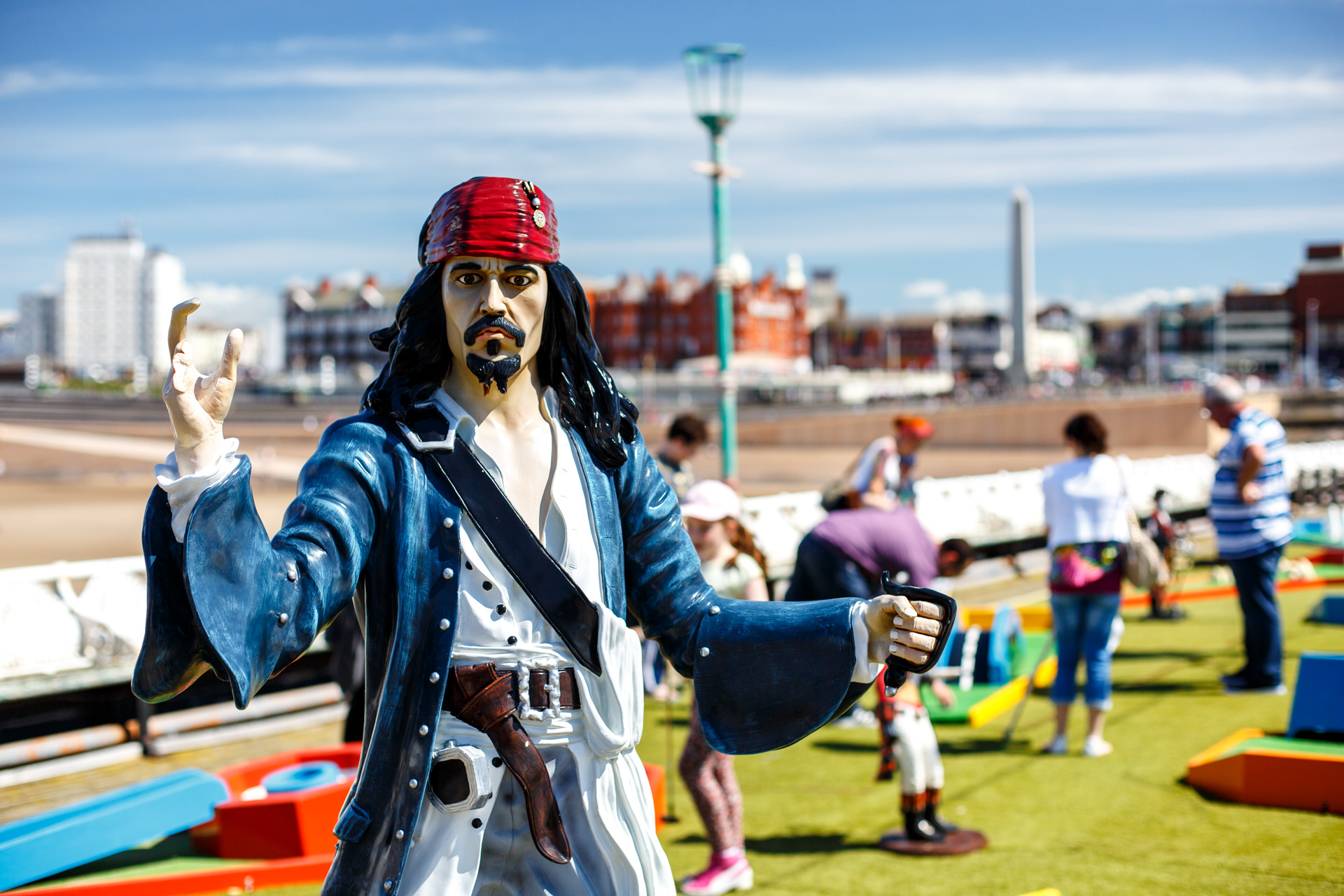 August - I took a day trip to  Blackpool  with a few friends for a project. Here's a Jack Sparrow-a-like at a mini golf course. He's missing his sword and a few fingers...I wonder what happened to him?!