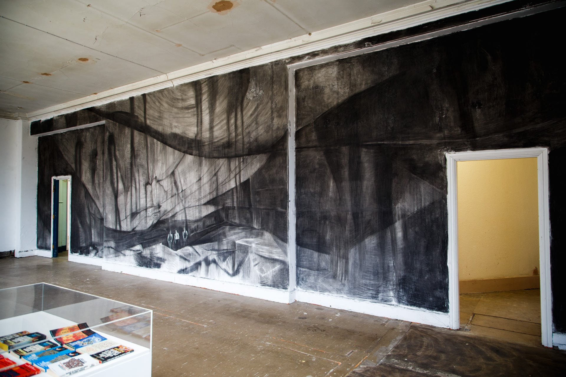 Marc Bauer's 'Quarry' drawing on the wall.