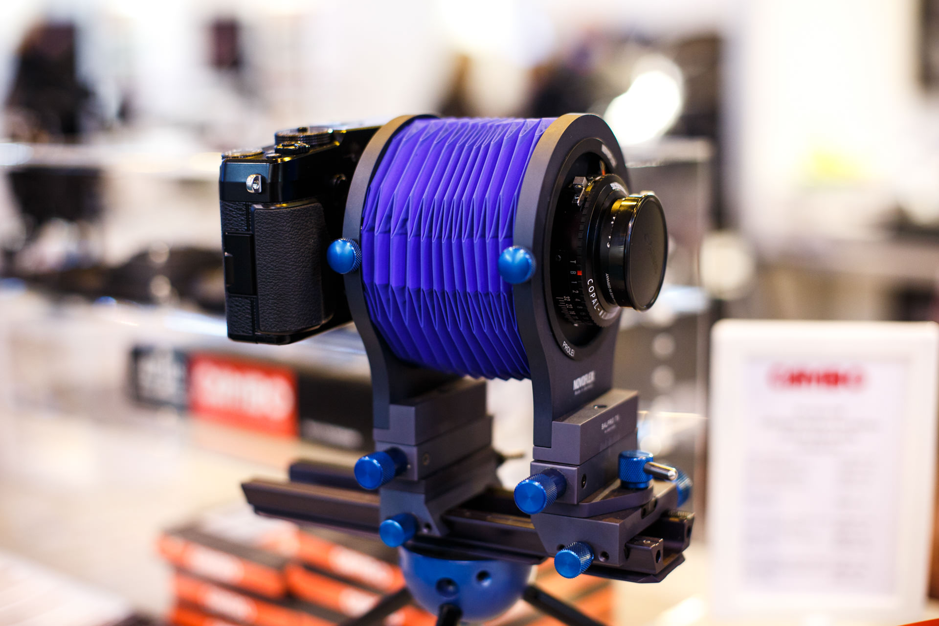 ...attaching a camera body on one end of the bellows, and a lens on the other, you have the ability to  tilt/shift  with a variety of cameras and lenses...