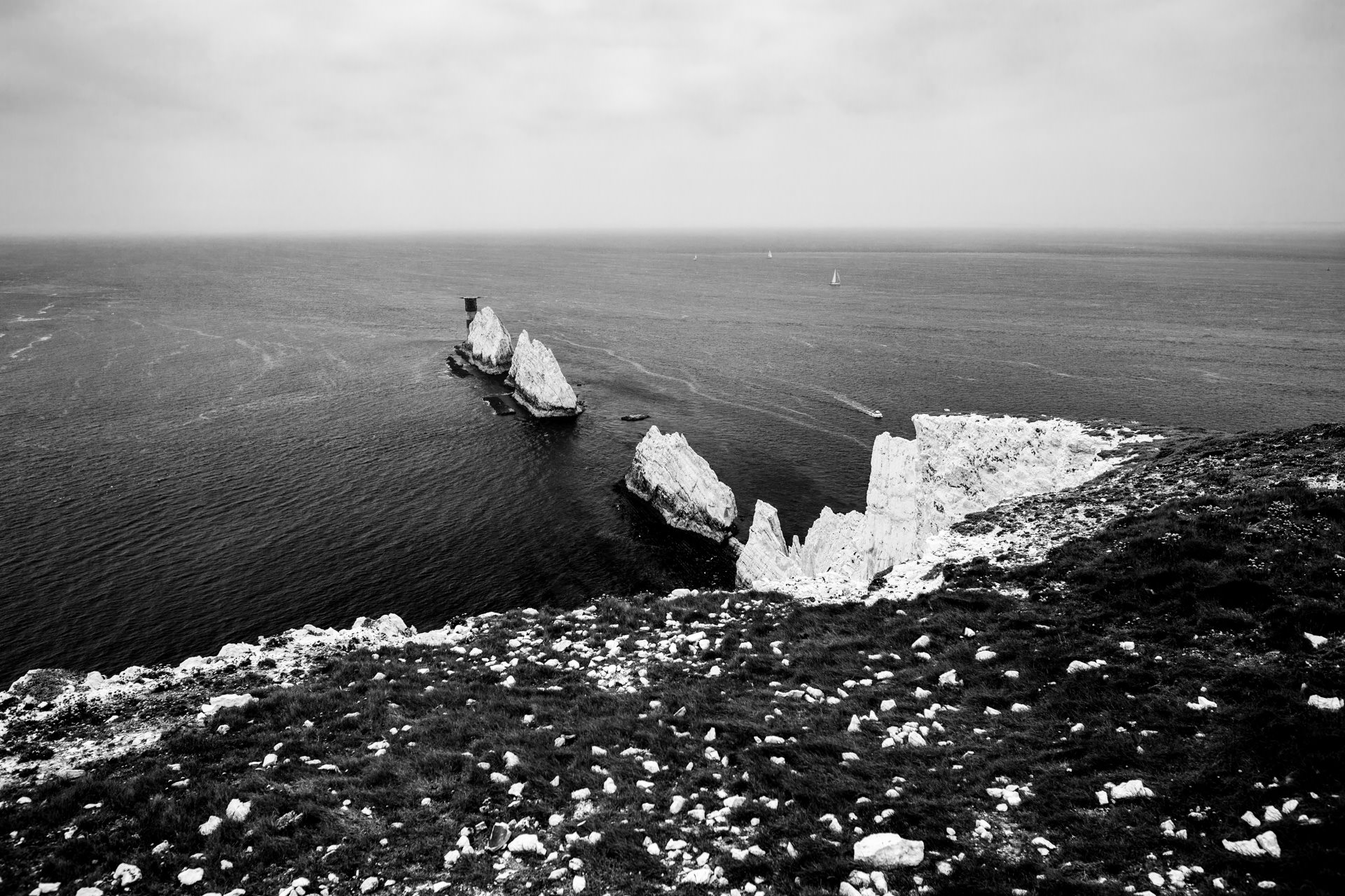 Viewing The Needles from inside the National Trust battery site.