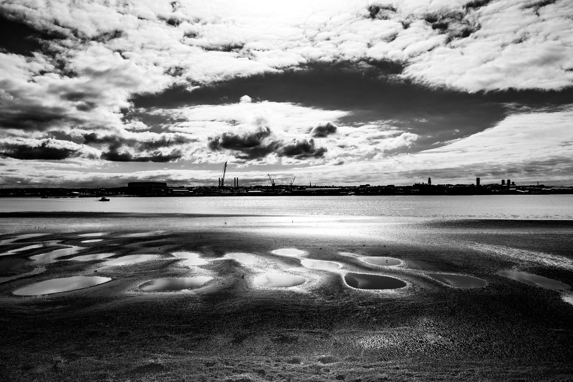 Looking out towards an industrial part of the Wirral.