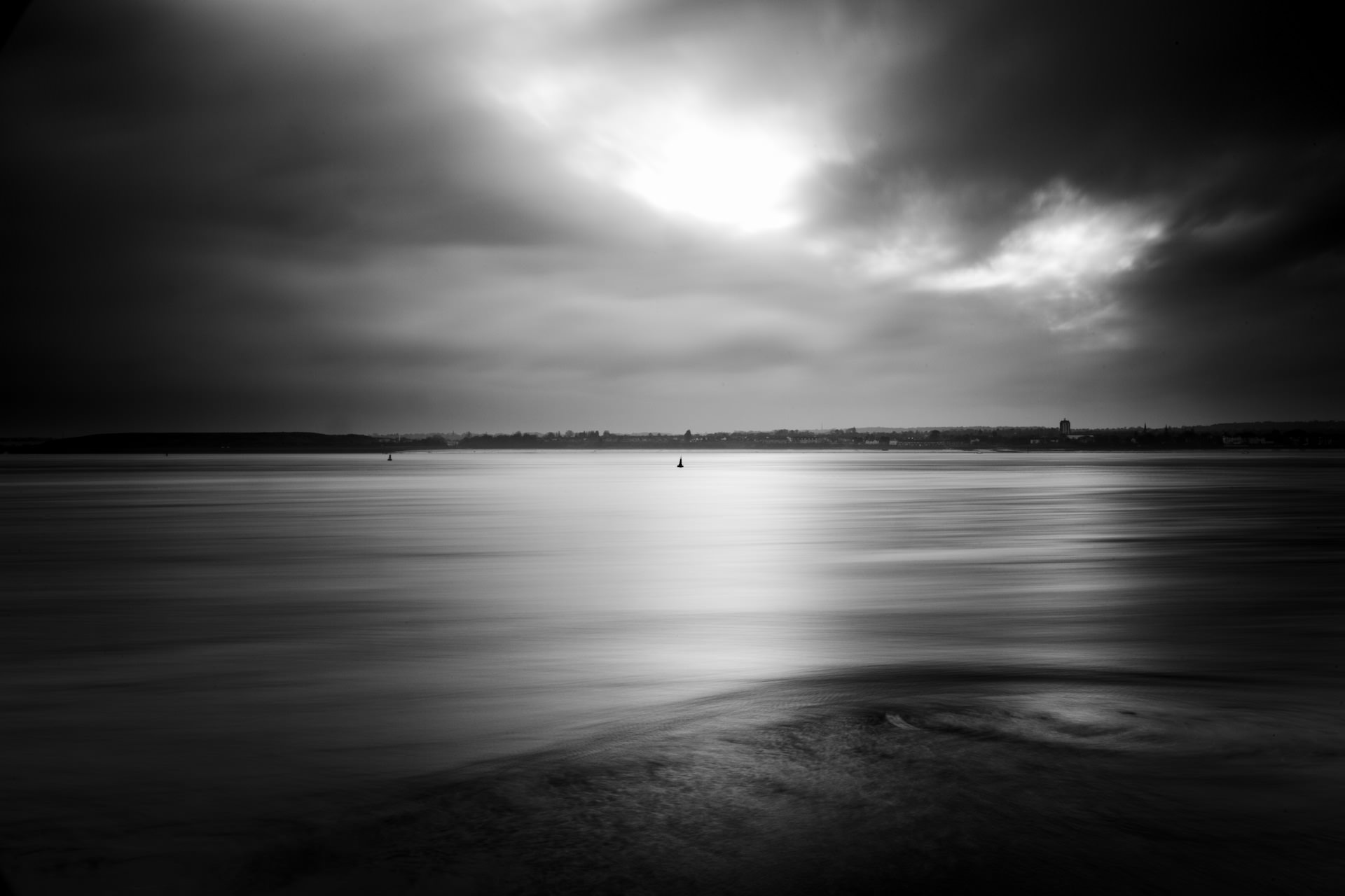December - a long exposure (13 seconds) looking out across the Mersey from Otterspool promenade.