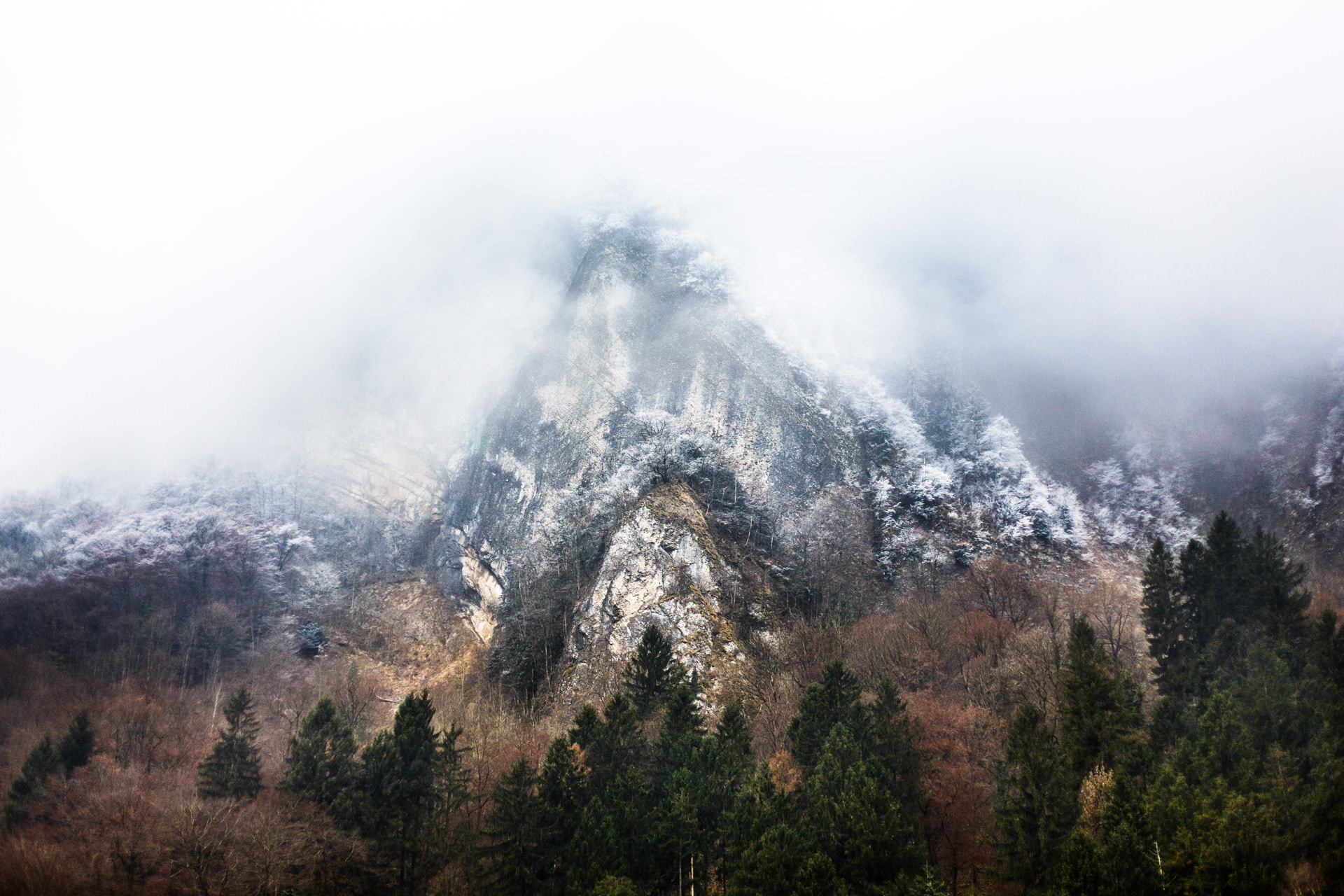 Thick mist surrounded this peak as we approached Chamonix.