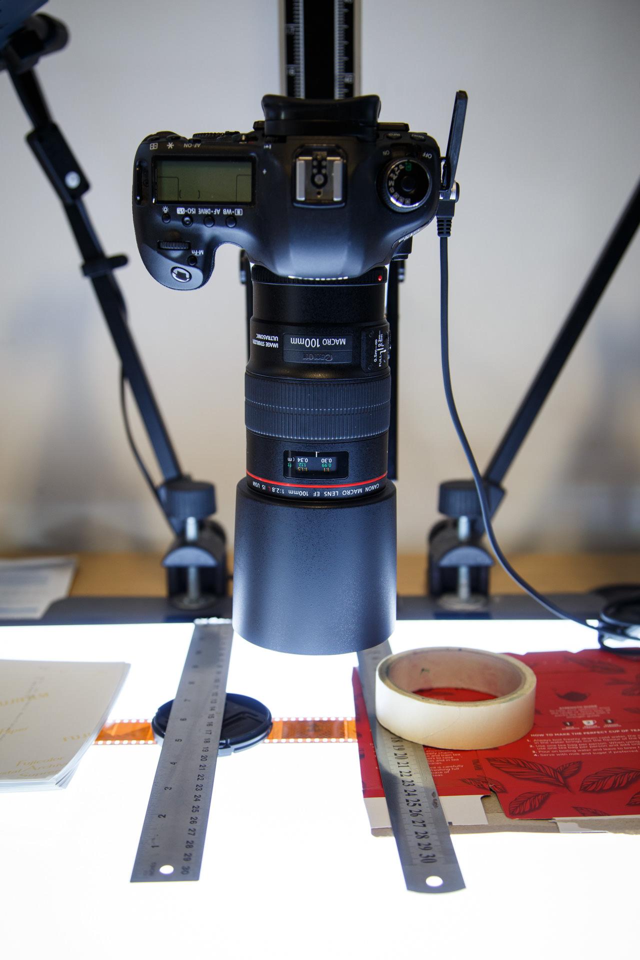 Digitising the film with my camera & macro lens.