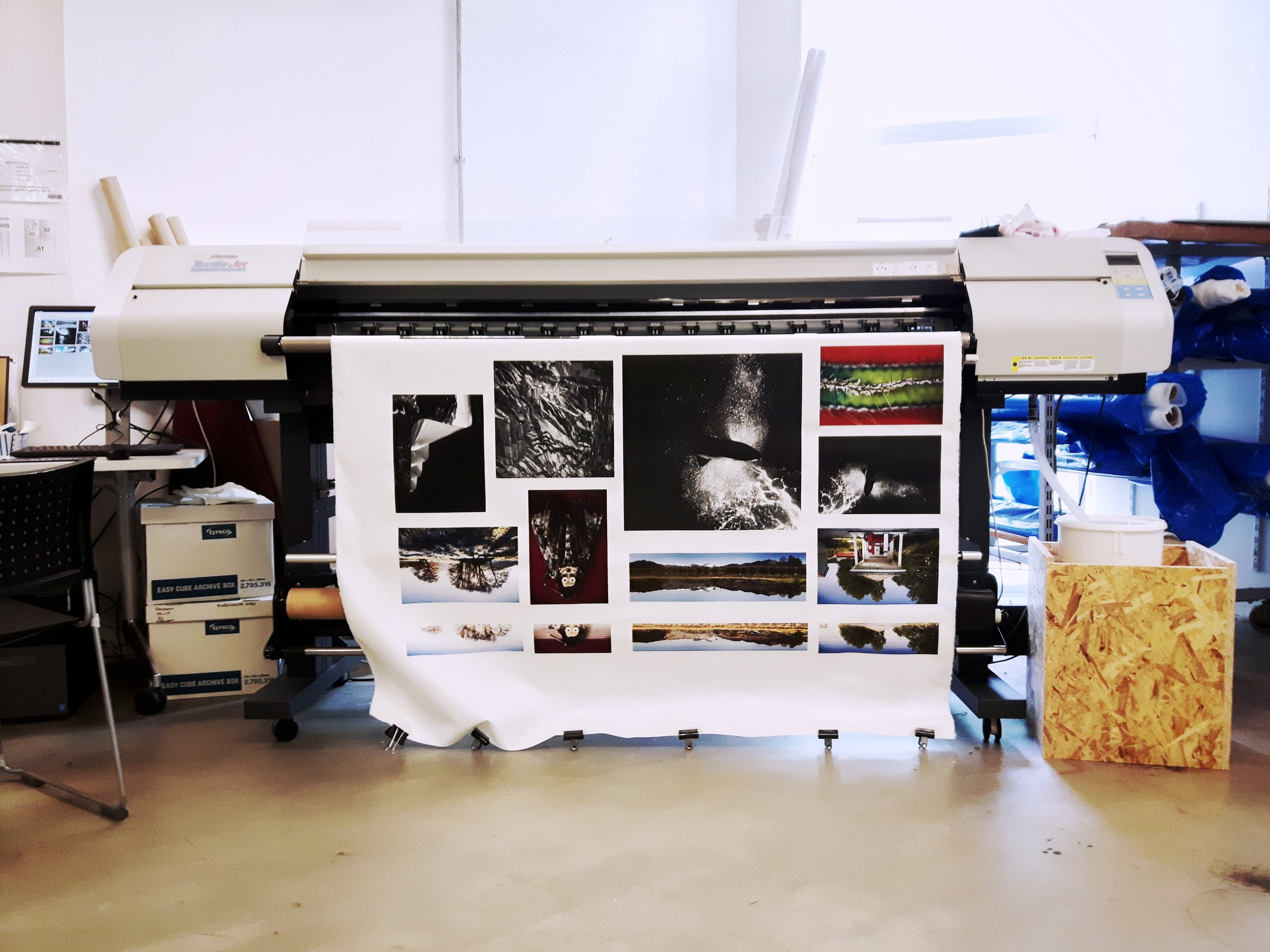 I was lucky to see the process behind fabric printing. It's always a treat to see your work in print and to learn about processes like this.