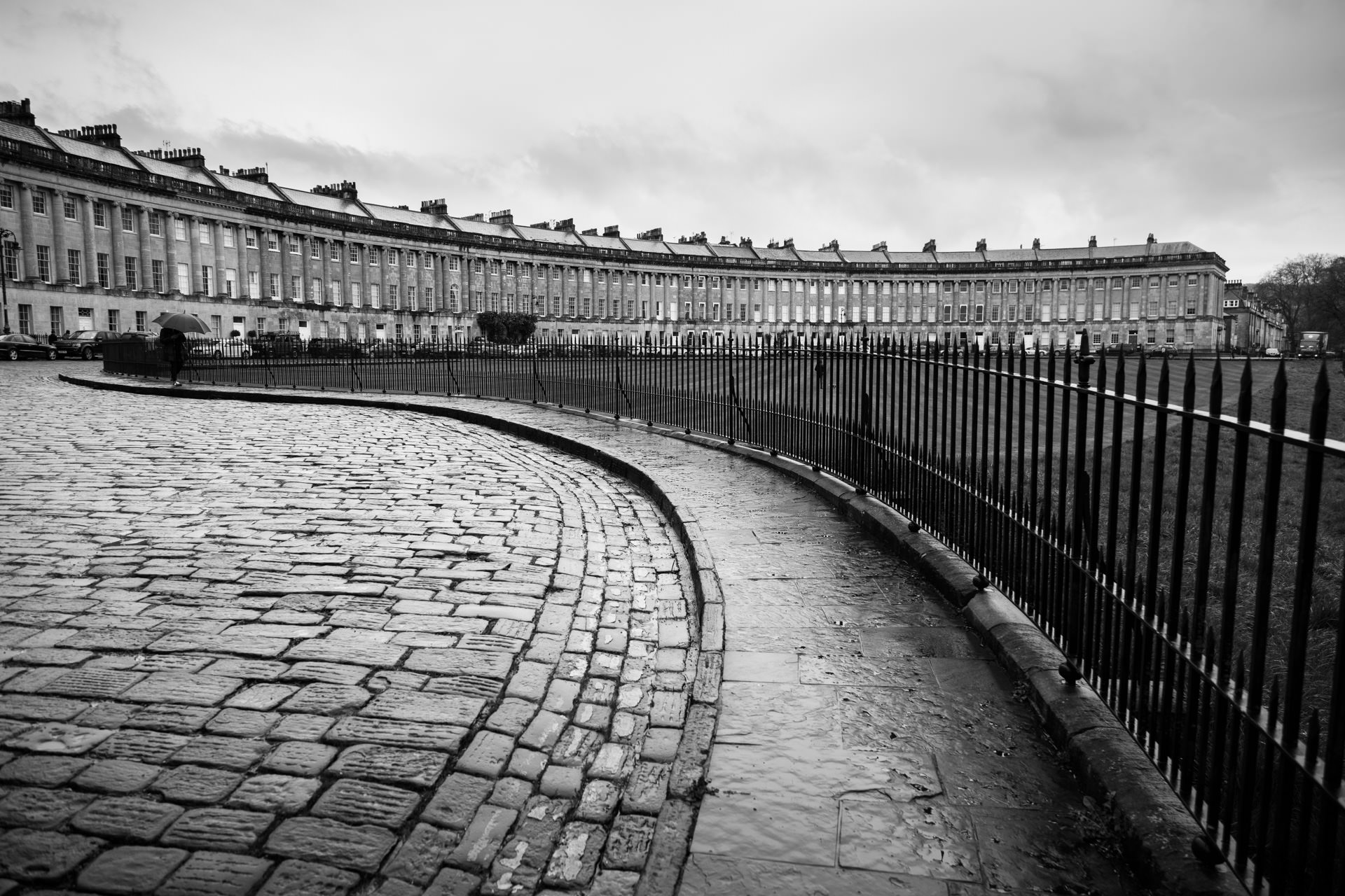 The Royal Crescent , one of Bath's most affluent areas built between 1767 and 1775.