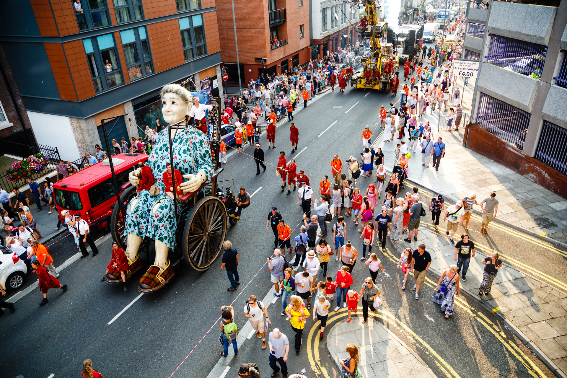 2014 - The Granny Giant going up Mount Pleasant.