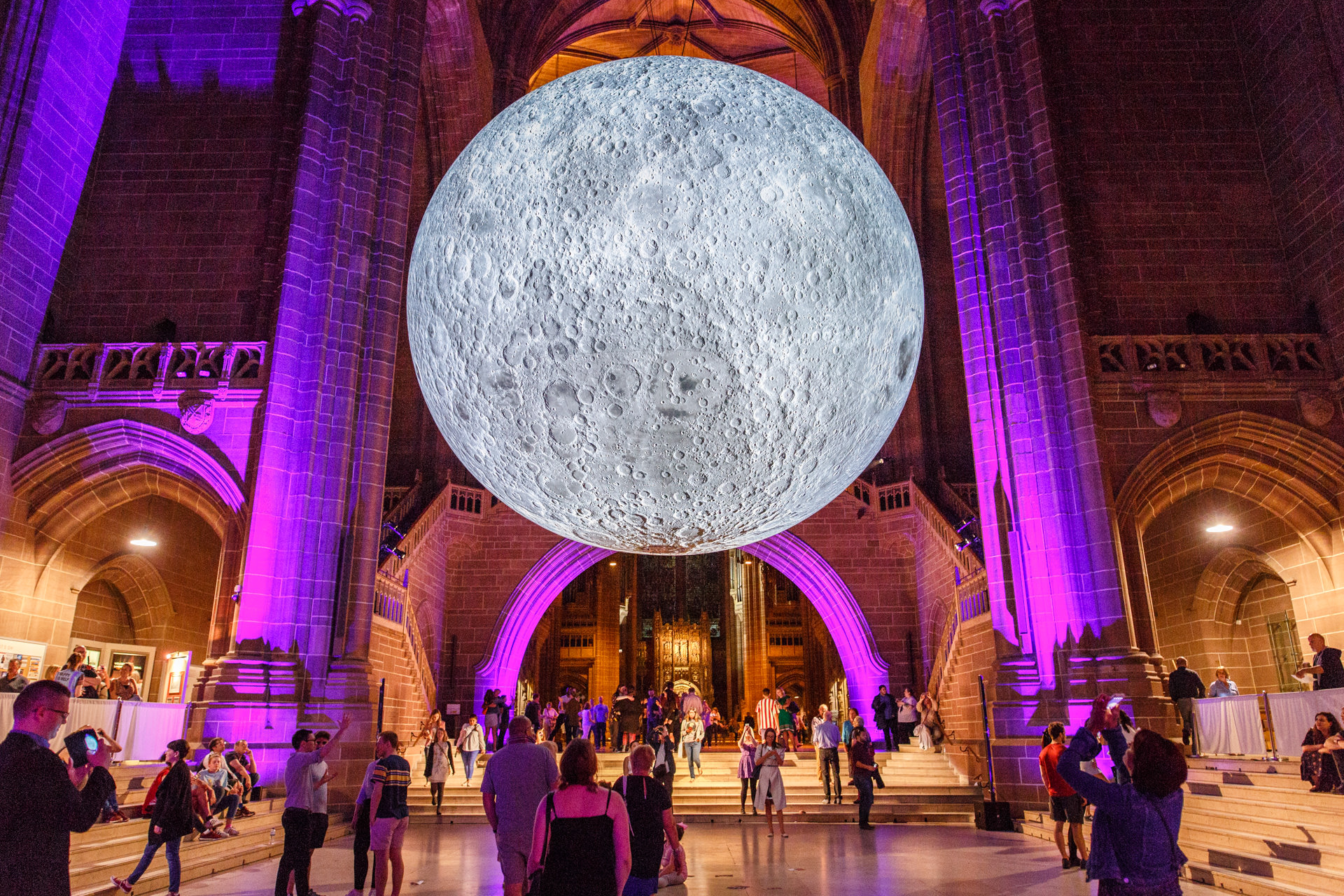 Museum of the Moon drew marvelled crowds to the Liverpool Anglican Cathedral.