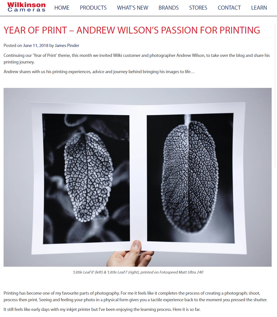 June - First guest blog for Wilkinson Cameras about my printing journey…