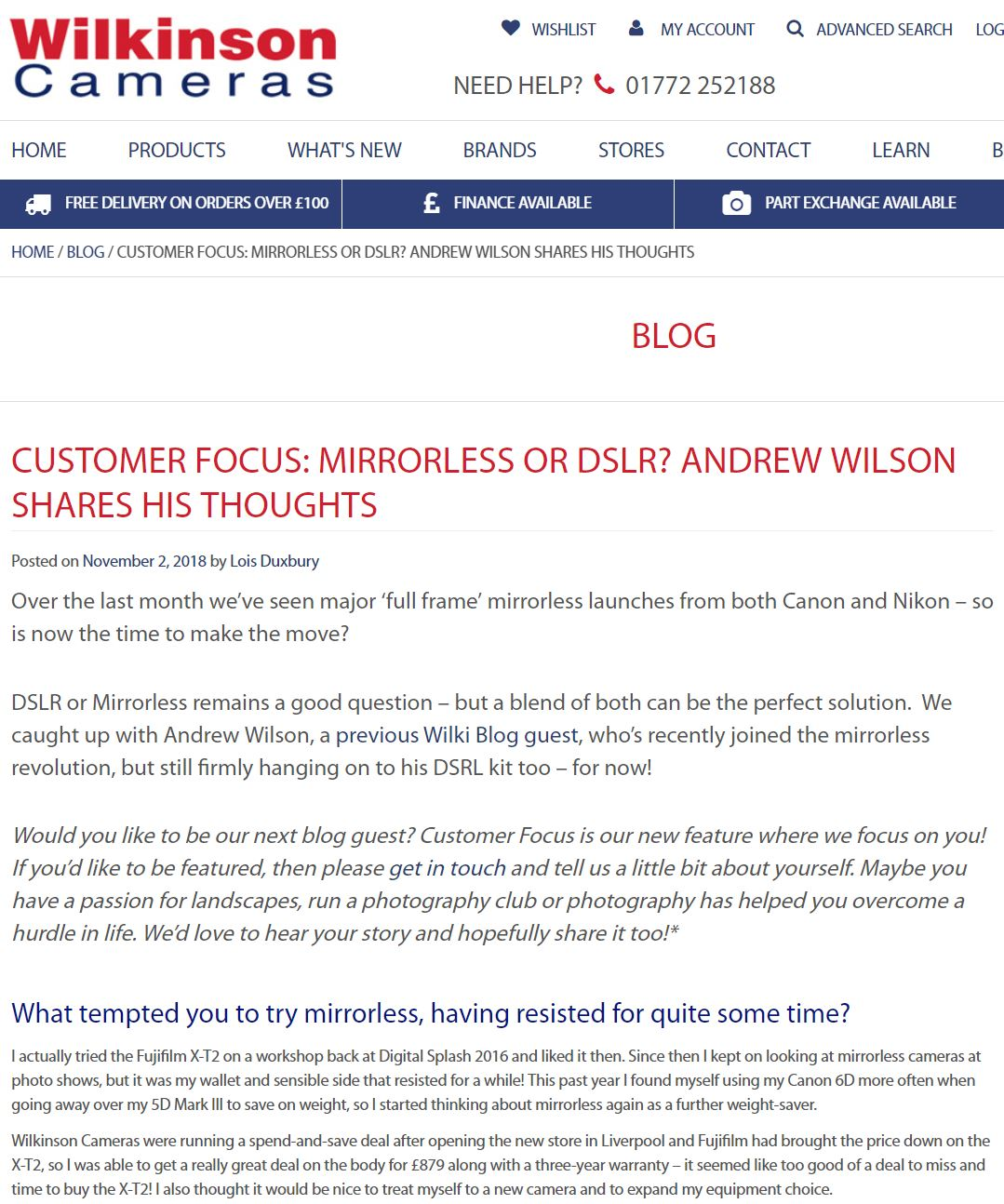 My second guest blog for Wilkinson Cameras, this time about mirrorless vs DSLR cameras.
