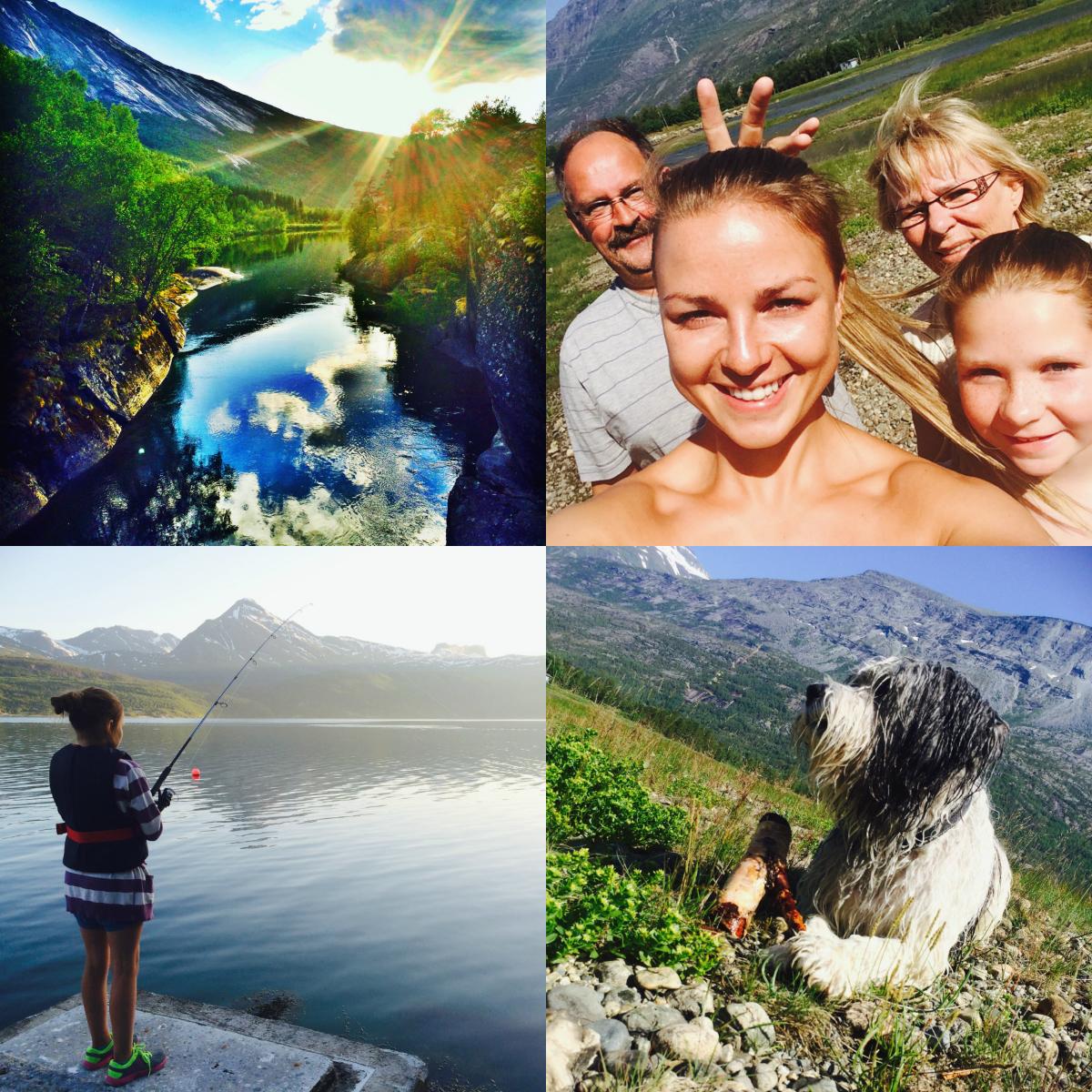 Bilder fra øverst til venstre: Kveldssolen i Skjomen. Gåtur med mommo, moffa, Hanna og meg. Fisking med kusine Hanna. Bading med Kiro.