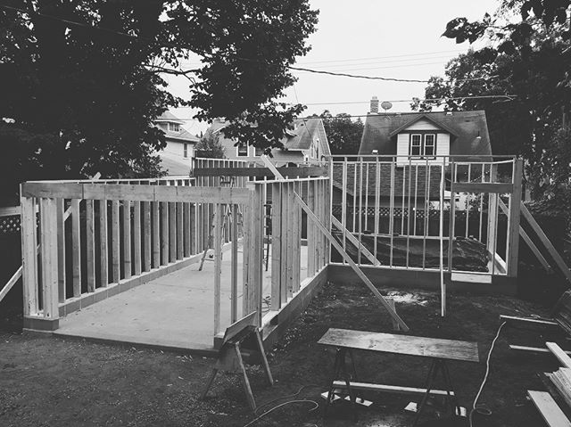 Framed a garage and studio space with the fam today!