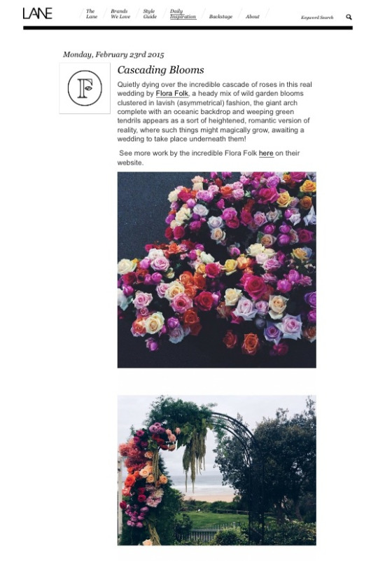 FloraFolk Wedding Florist Sydney The Lane Cascading Blooms