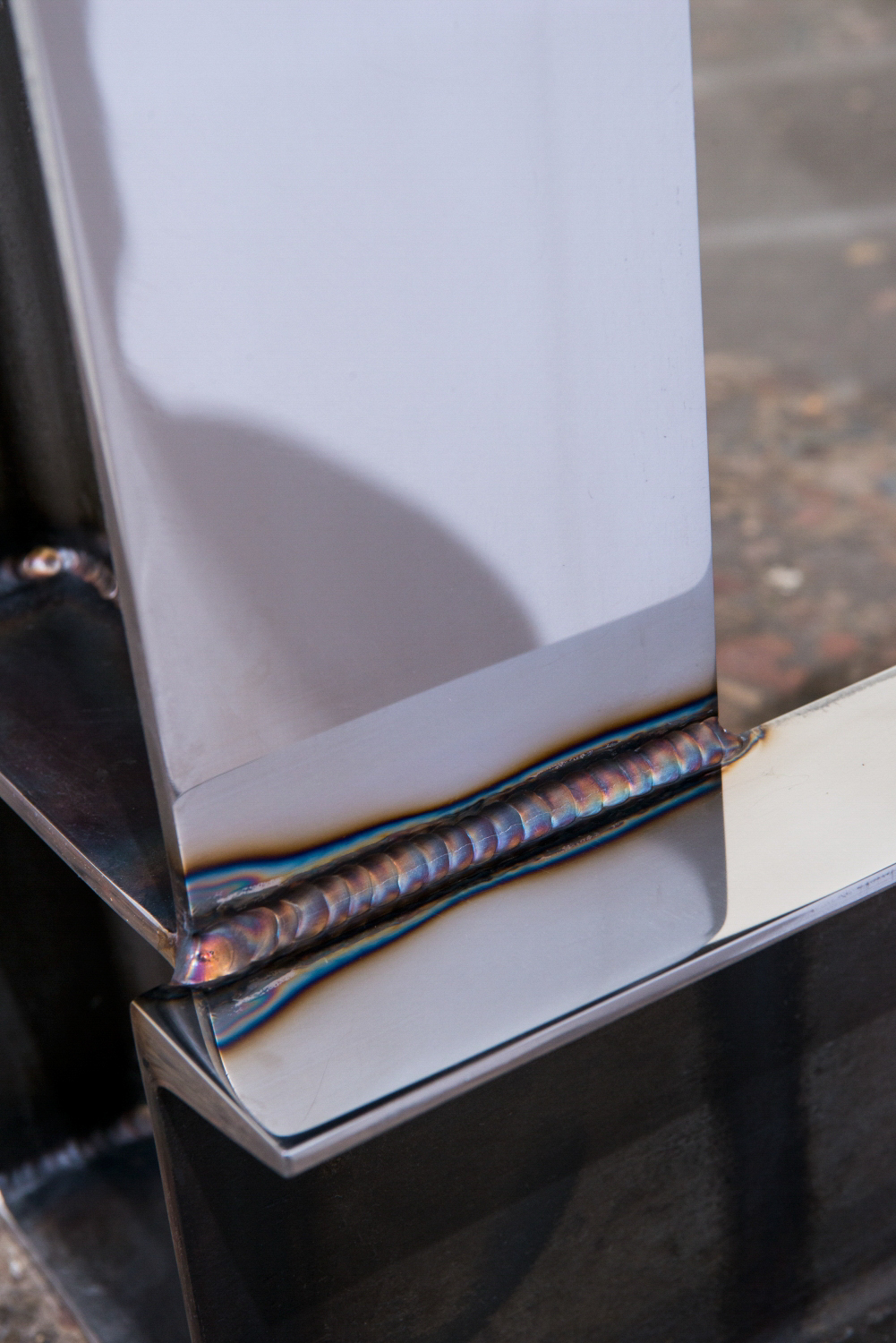 Polished Steel I-beam Console