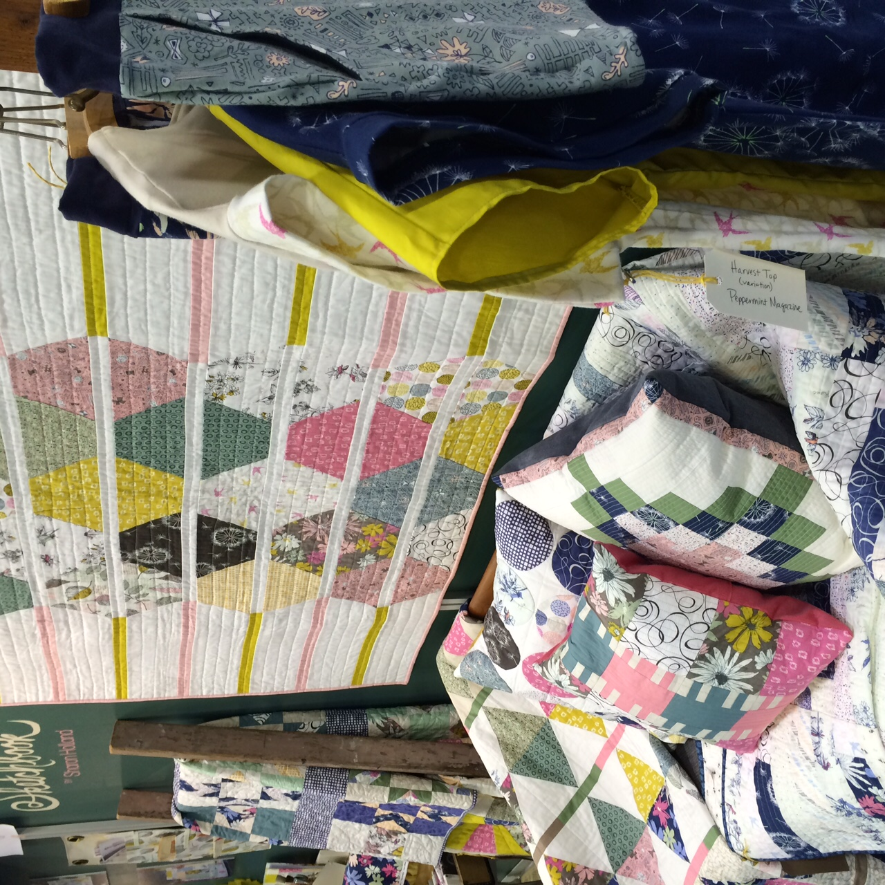 Sketchbook booth with Honeycomb quilt by Sharon Holland for Art Gallery Fabrics