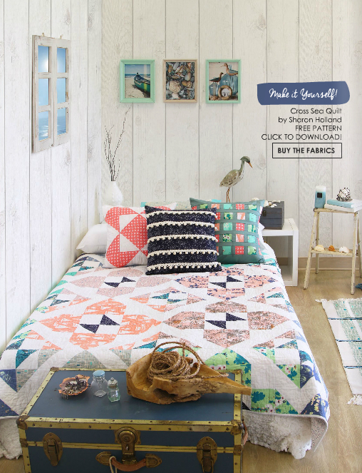 Cross Sea quilt by Sharon Holland Photo courtesy of Art Gallery Fabrics