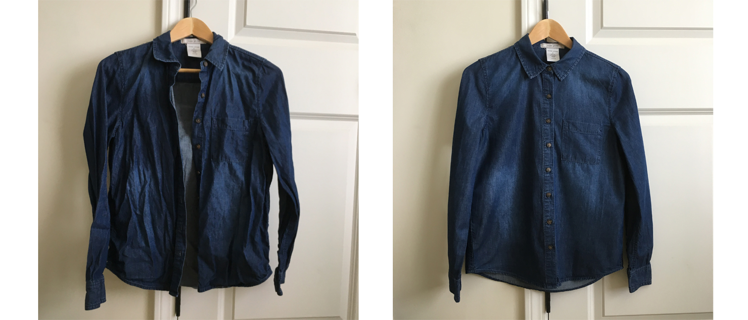 Before and after ironing with the Laurastar Lift steam iron