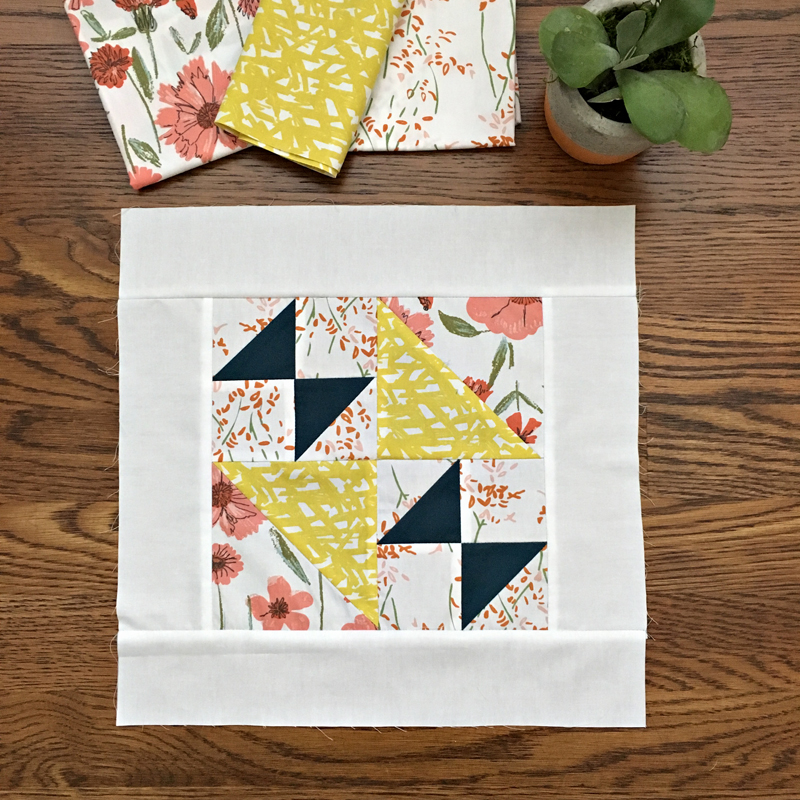 2017 block from the Sewcial Bee Sampler with Bountiful and Pure Elements fabrics from Art Gallery Fabrics