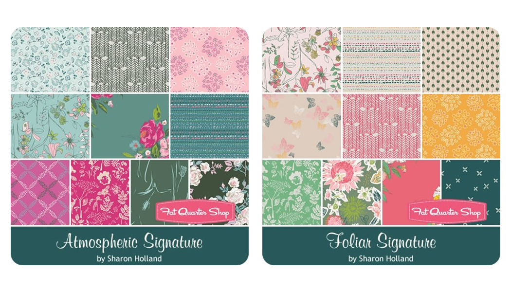 Note: Signature available for pre-order in May from Fat Quarter Shop. These fabrics are not part of this giveaway. See Community Sampler Giveaway Week #10 for Bountiful Harvest 10-pc bundle images.