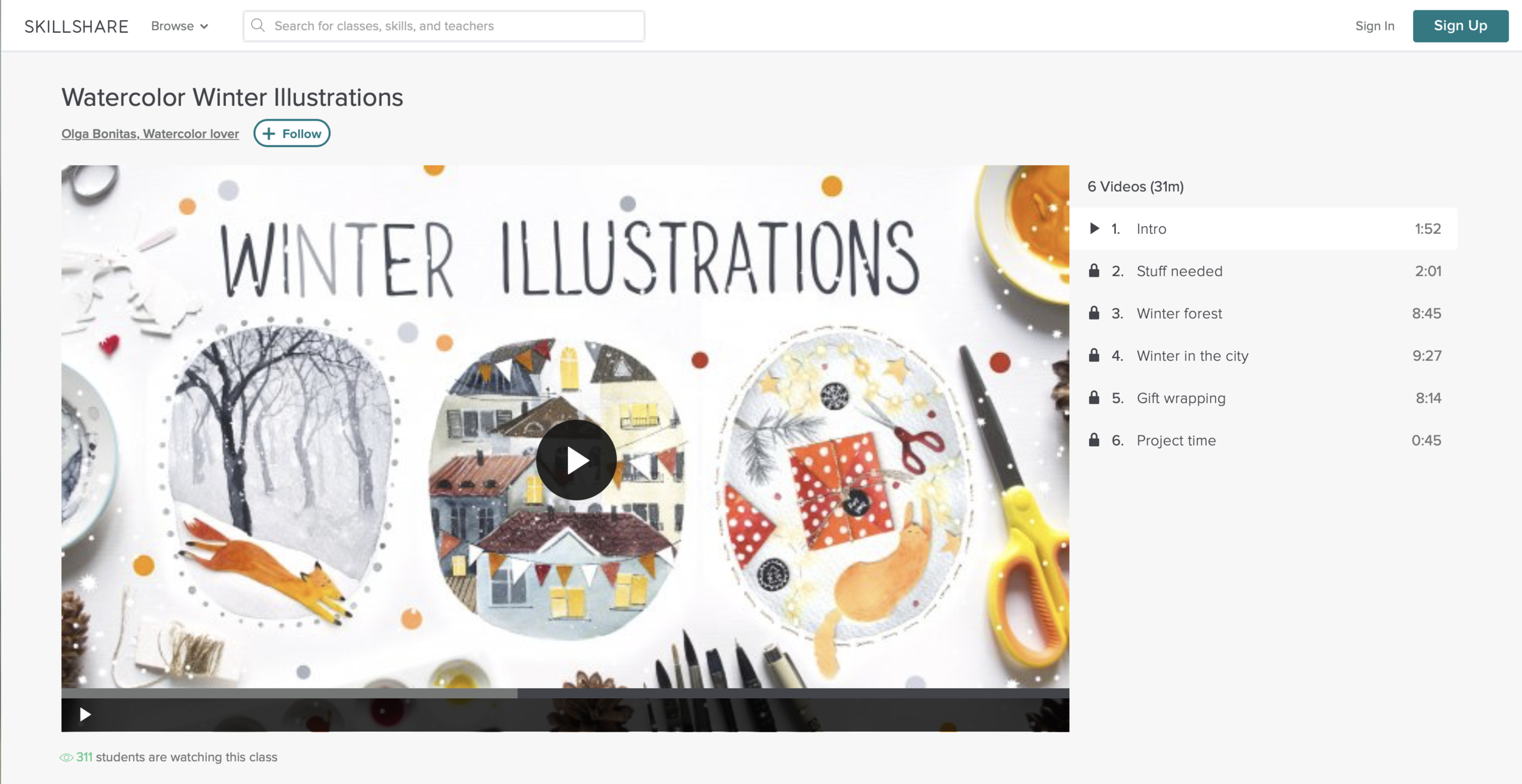 Watercolor Winter Illustrations with Olga Bonitas