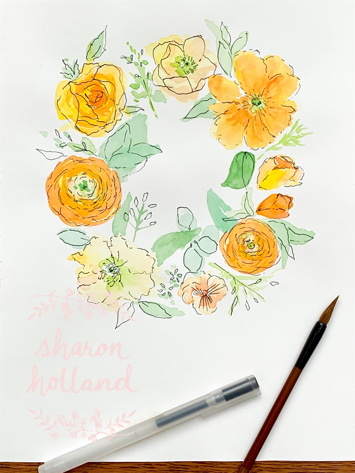 Floral Wreath - yellows - Sharon Holland