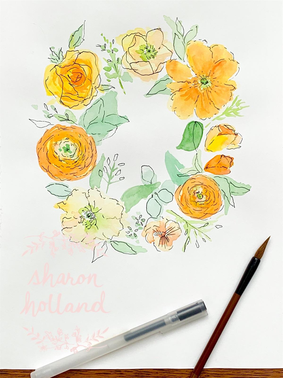 Floral Wreath - yellows - Sharon Holland