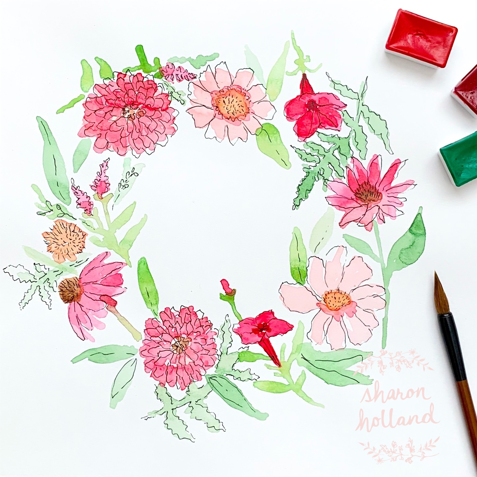 Floral Wreath - reds - Sharon Holland