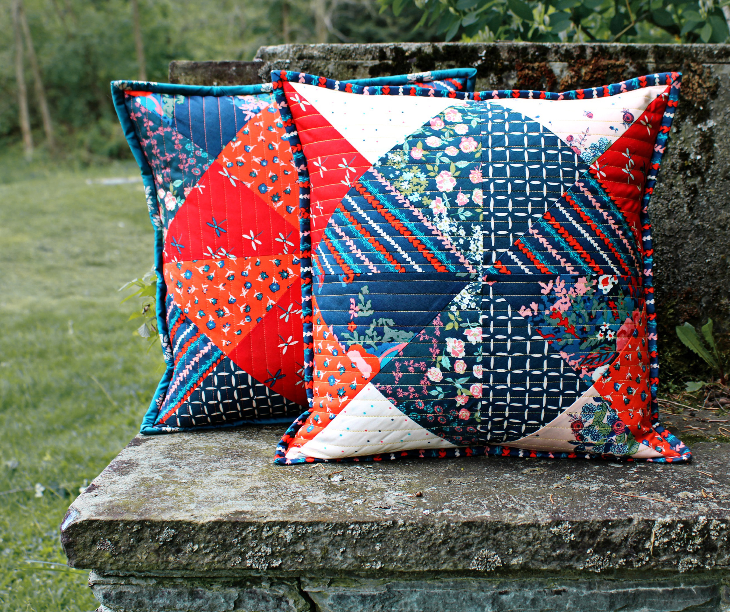 Hourglass Quilted Pillows by Maureen Cracknell