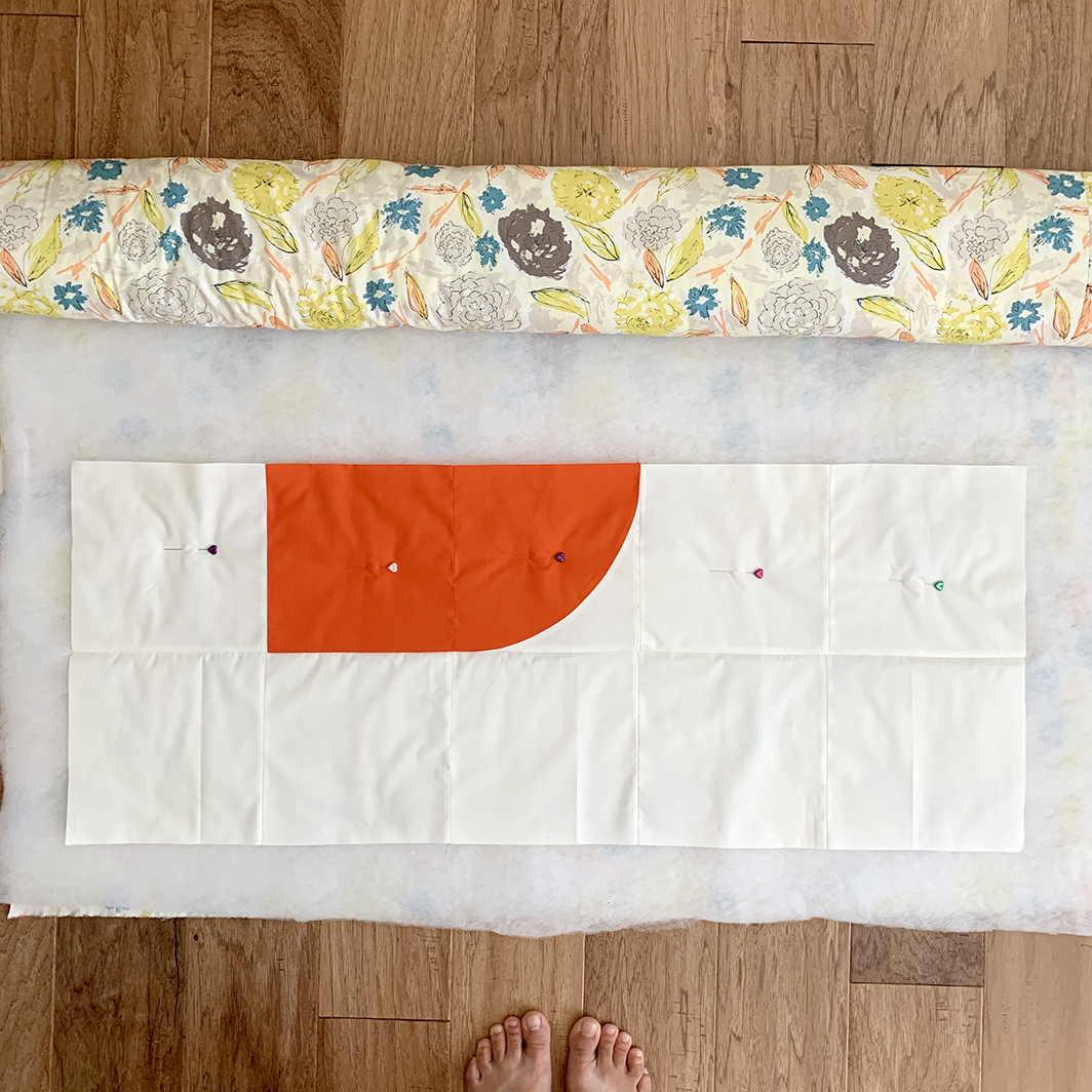Hold Tight Petite Quilt-As-You-Go quilt assembly peek