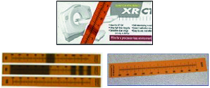 "Gafchromic XR-CT2    XR-CT2 film has a printed scale and is used to measure the CT Scanner radiation beam slice width and beam position over a dose range of 1mGy to 200mGy. Energy range is 20kVp to 200kVp.  Available in size 5"" x 0.75"" with 50 strips per box."