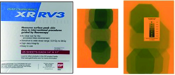 "Gafchromic XR-RV3     XR-RV3 film measures peak patient skin dose in fluoroscopy and photon radiation therapy (for energies 30keV to 30MeV) over a dose range of 10mGy to 30Gy. Use in combination with the comparator strip.  Available in size 14""x17"" with 25 sheets per box."