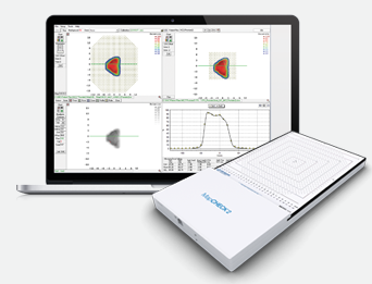 M    apCHECK™    is a 2D detector array with easy to use software for quick, precise and accurate patient plan QA of IMRT dose distributions (including FFF), electron treatments plus machine QA. Consists of 1,527      uniformly spaced in a field size of 32cm x 26cm. Real-time updates (50ms), user calibrations with single power/data cable.   MapCHECK™ options:    3DVH   ®   ,        IMF™ or GMF™    (  with Linac adapter plate  ) for gantry rotations measurements  ,    Solid Water® HE   ,        SRS Film QA   for use with CyberKnife (and other stereotactic modalities) to analyse and convert scanned film image data to dose, for import into a TPS,  plus software maintenance. Also FFF-upgrade for older MapCHECKs.