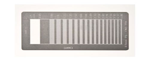Resolution Test Pattern, 0.5-5.0 LP/mm bar, 16 groups   Provides an easy method for measuring resolution and modulation transfer functions of x-ray systems. This product includes a 5-year warranty.