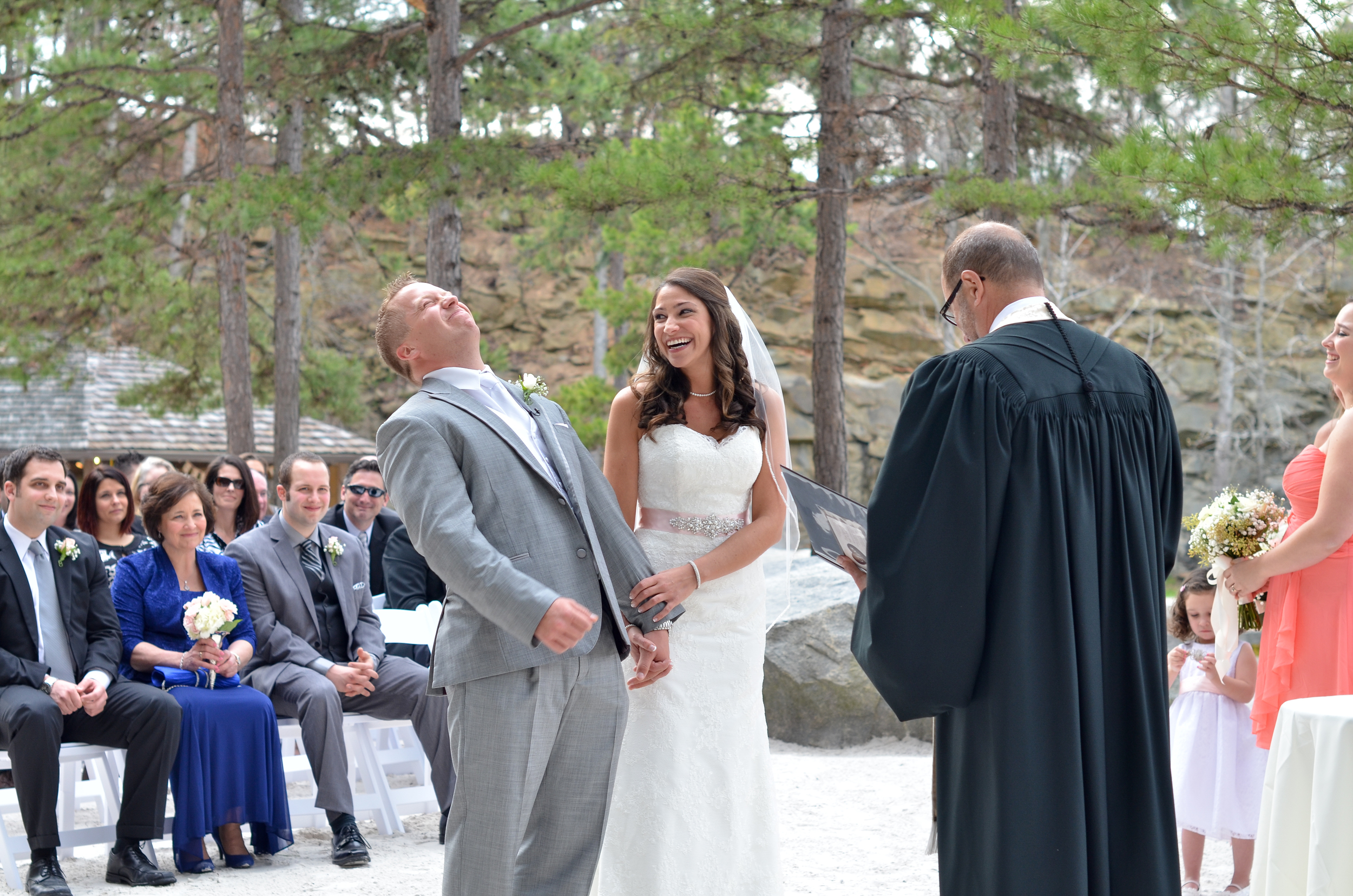 The bride's father joked about how he got to know the groom through his Facebook posts and photos before meeting him in person.