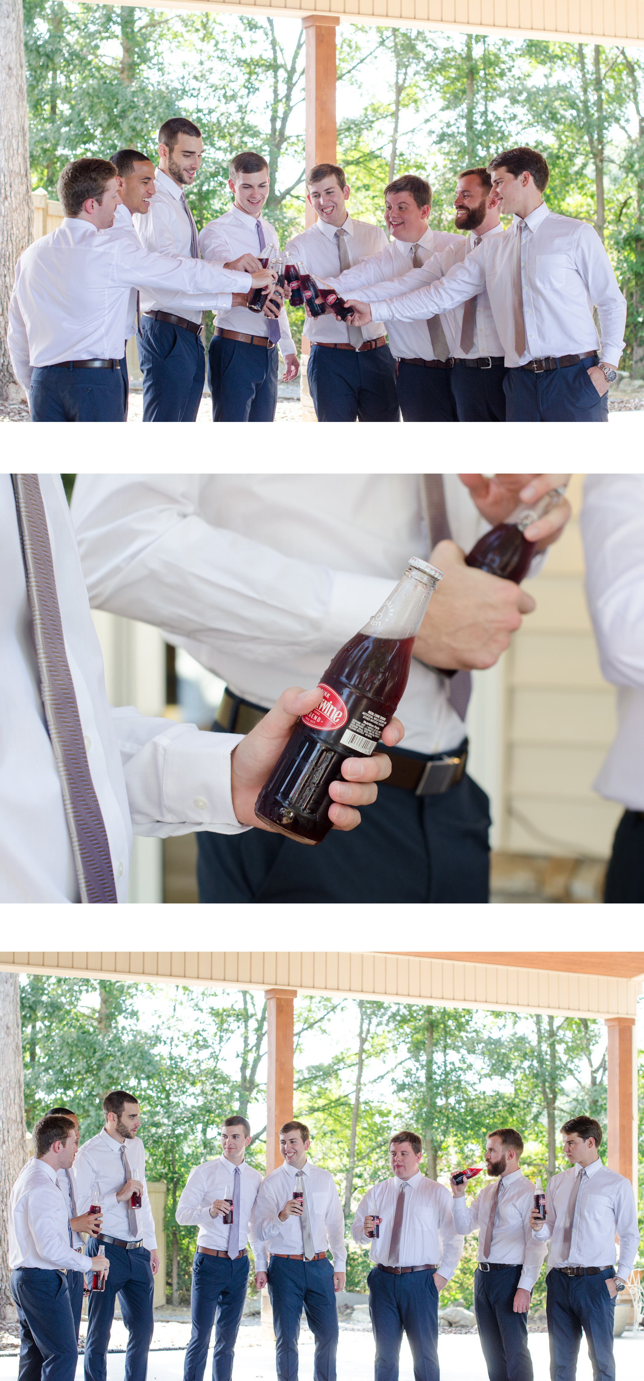 Jeremy LOVES his Cheerwine, almost as much as he loves Morgan. Morgan was so sweet and had glass bottled Cheerwine delivered to Jeremy while the boys were getting ready. She had no idea this would lead to  two of the groomsmen having red all over their crisp, white shirts.
