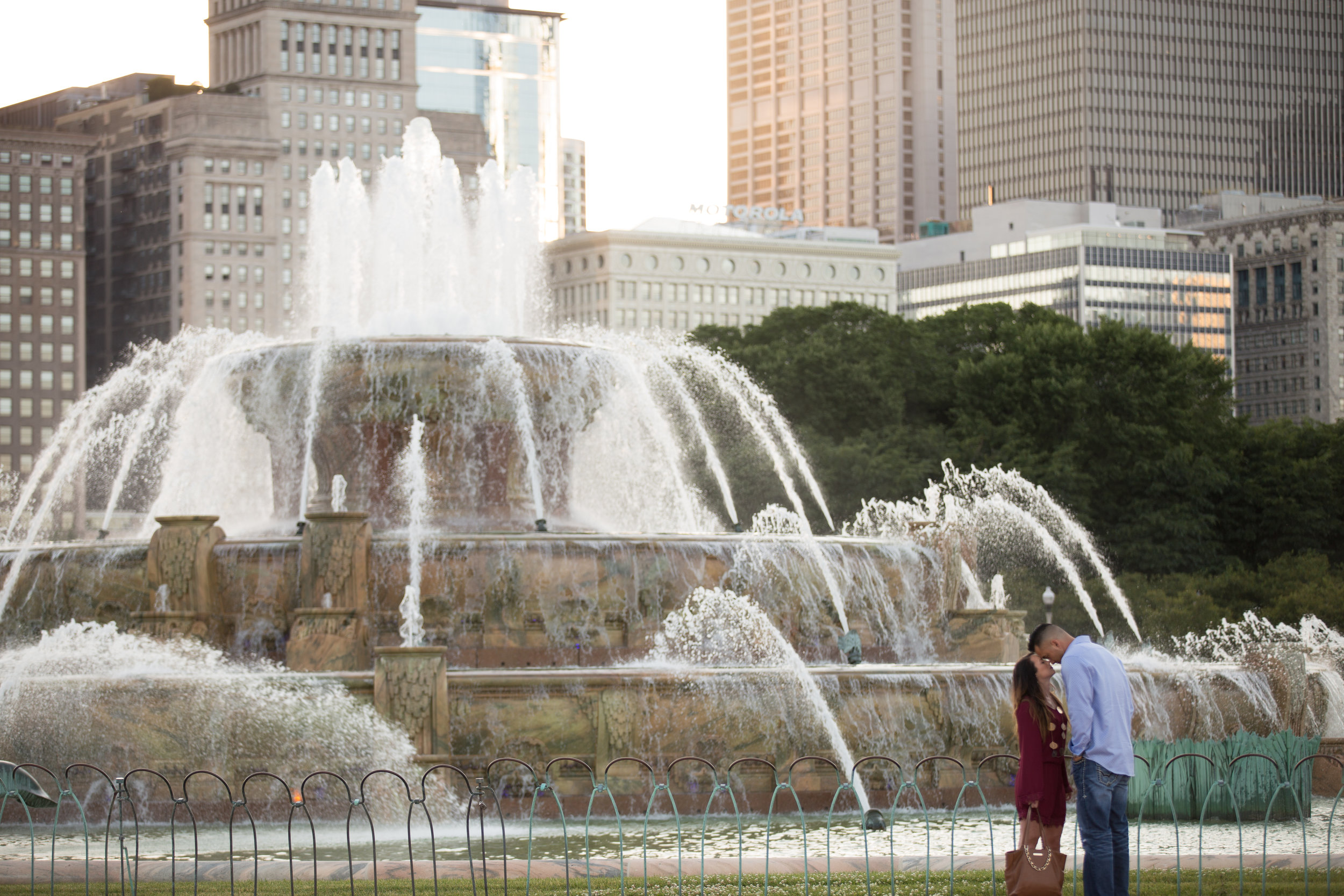 Chris asked to pray with me in front of the Buckingham Fountain before he knelt down and asked me to marry him.