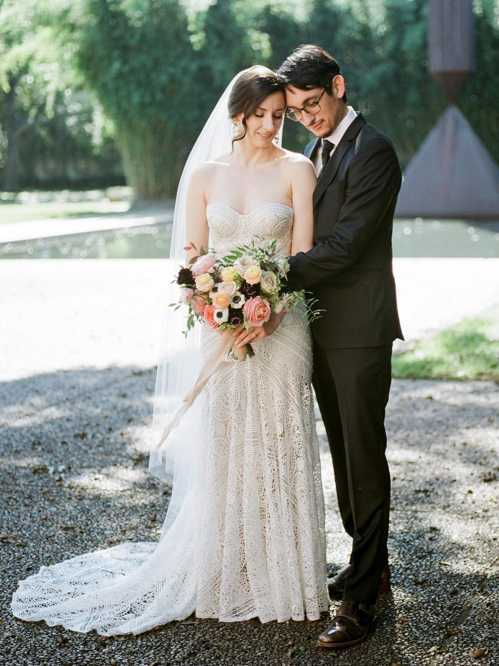 fall wedding at rothko chapel- houston wedding photographer-christine gosch - film photographer - elopement photographer- intimate wedding - lovely bride wedding gown-17.jpg