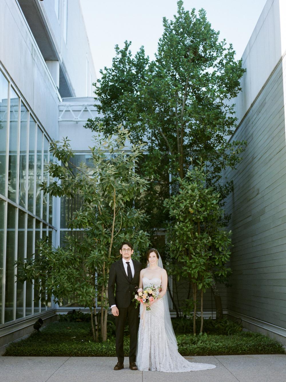 fall wedding at rothko chapel- houston wedding photographer-christine gosch - film photographer - elopement photographer- intimate wedding - lovely bride wedding gown-7.jpg