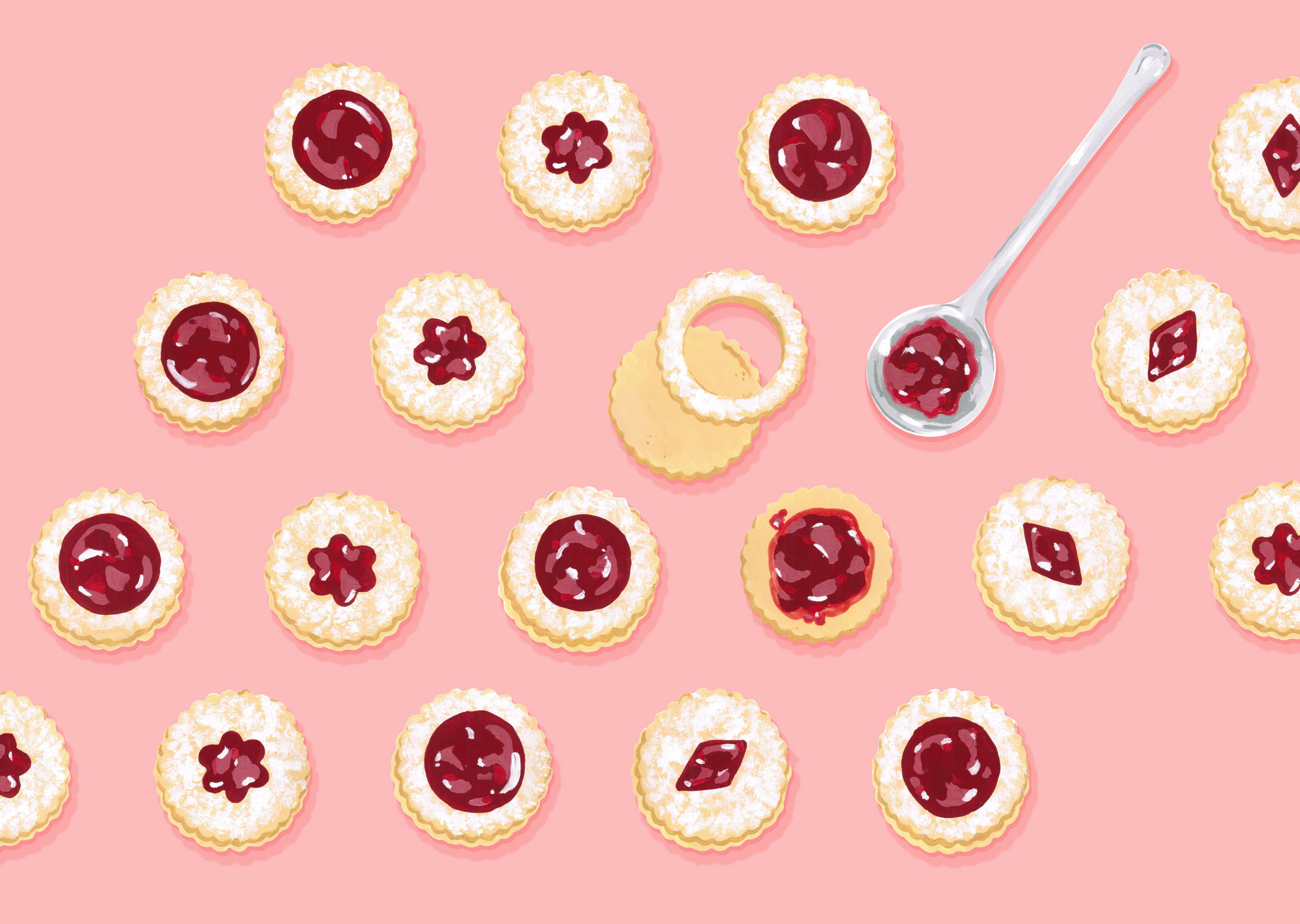 Andrea Gonzalez illustration J is for Jam-filled cookies